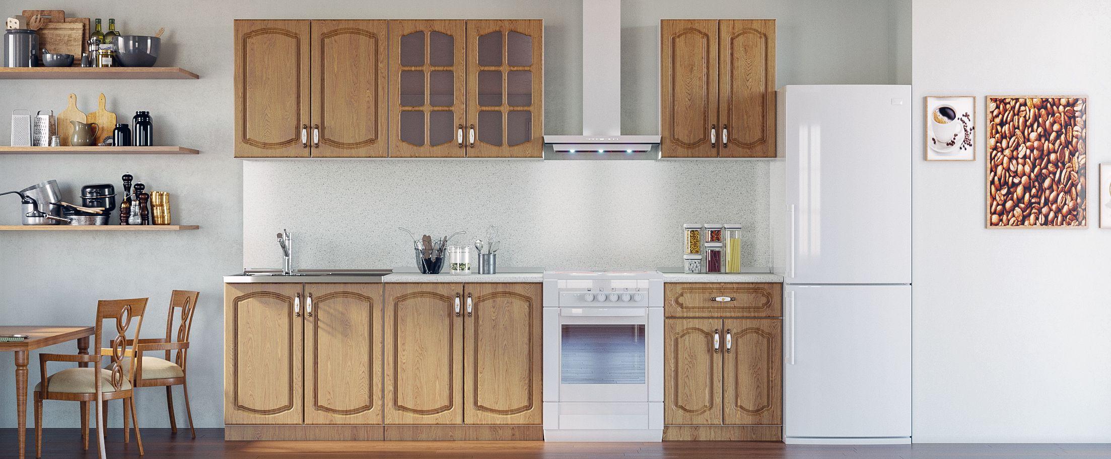 Кухня Дуб натуральный 2,2 мКупить удобный и практичный набор кухонного гарнитура в интернет магазине MOON TRADE. Быстрая доставка, вынос упаковки, гарантия! Выгодная покупка!<br>