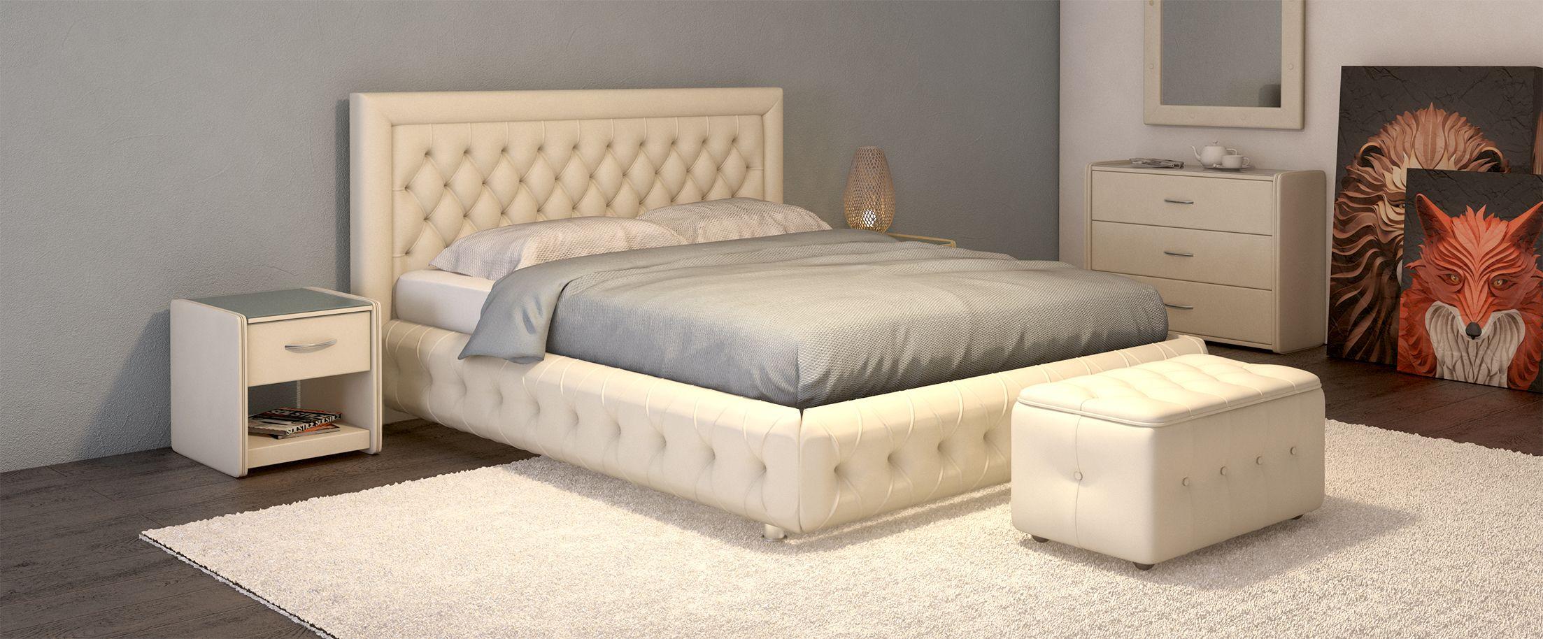 Кровать двуспальная Биг Бен Модель 586Оригинальный дизайн кровати сделает Вашу спальню особенной. Биг Бен - кровать для тех, кому нравится сочетать классику и модерн: утяжки на царгах придают стиль и шарм изделию.<br><br>Ширина см: 176<br>Глубина см: 222<br>Высота см: 112<br>Ширина спального места см: 160<br>Глубина спального места см: 200<br>Встроенное основание: Есть<br>Материал каркаса: ДСП<br>Материал обивки: Экокожа<br>Подъемный механизм: Нет<br>Цвет: Белый<br>Код ткани: Марципан