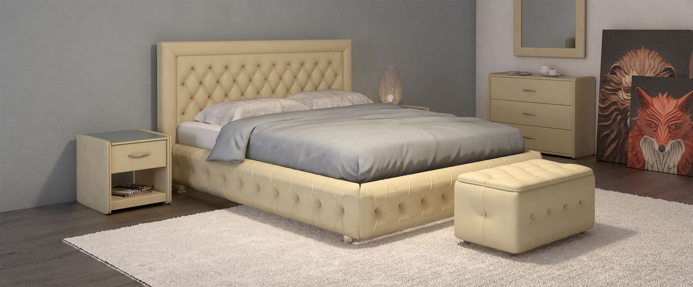 Кровать двуспальная Биг Бен Модель 586Оригинальный дизайн кровати сделает Вашу спальню особенной. Биг Бен - кровать для тех, кому нравится сочетать классику и модерн: утяжки на царгах придают стиль и шарм изделию.<br><br>Ширина см: 176<br>Глубина см: 222<br>Высота см: 112<br>Ширина спального места см: 160<br>Глубина спального места см: 200<br>Встроенное основание: Есть<br>Материал каркаса: ДСП<br>Материал обивки: Экокожа<br>Подъемный механизм: Нет<br>Цвет: Бежевый<br>Код ткани: Суфле