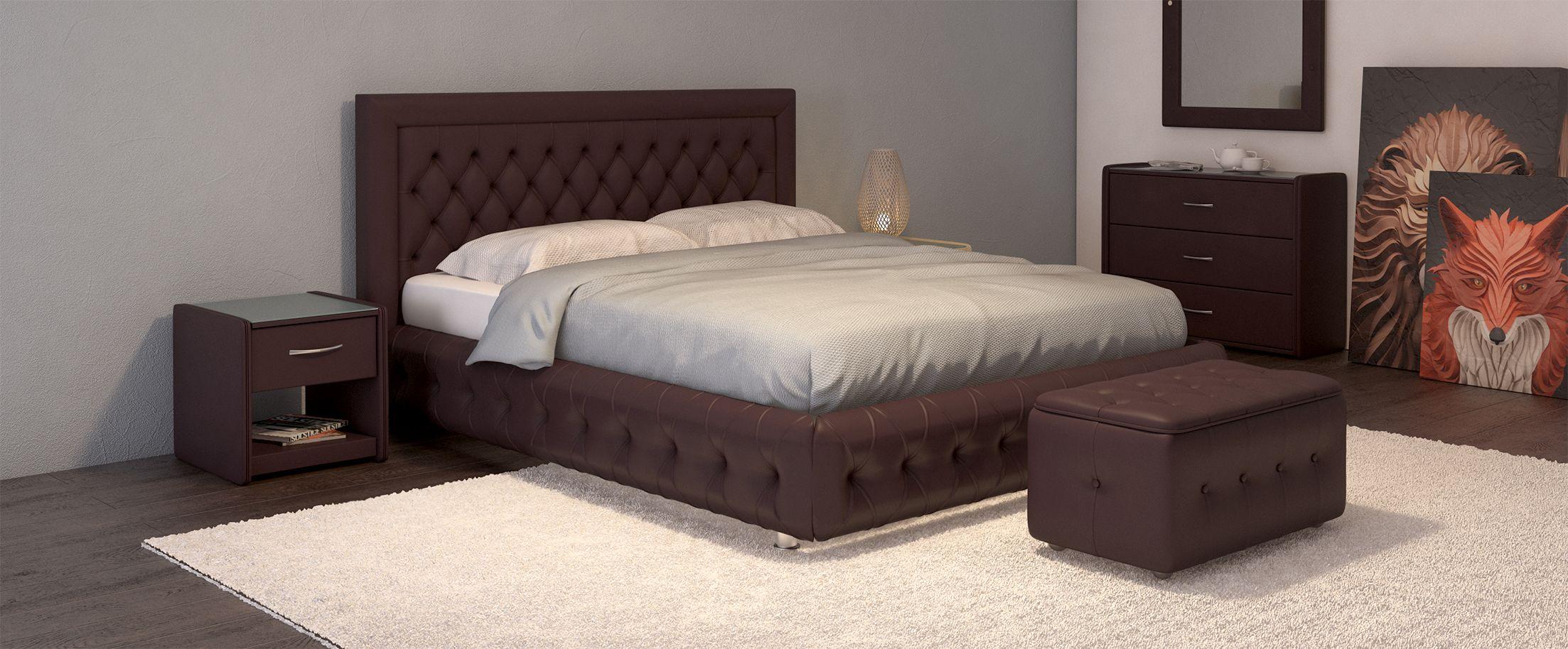 Кровать двуспальная Биг Бен Модель 586Оригинальный дизайн кровати сделает Вашу спальню особенной. Биг Бен - кровать для тех, кому нравится сочетать классику и модерн: утяжки на царгах придают стиль и шарм изделию.<br><br>Ширина см: 156<br>Глубина см: 222<br>Высота см: 112<br>Ширина спального места см: 140<br>Глубина спального места см: 200<br>Встроенное основание: Есть<br>Материал каркаса: ДСП<br>Материал обивки: Экокожа<br>Подъемный механизм: Нет<br>Цвет: Коричневый<br>Код ткани: Кофе