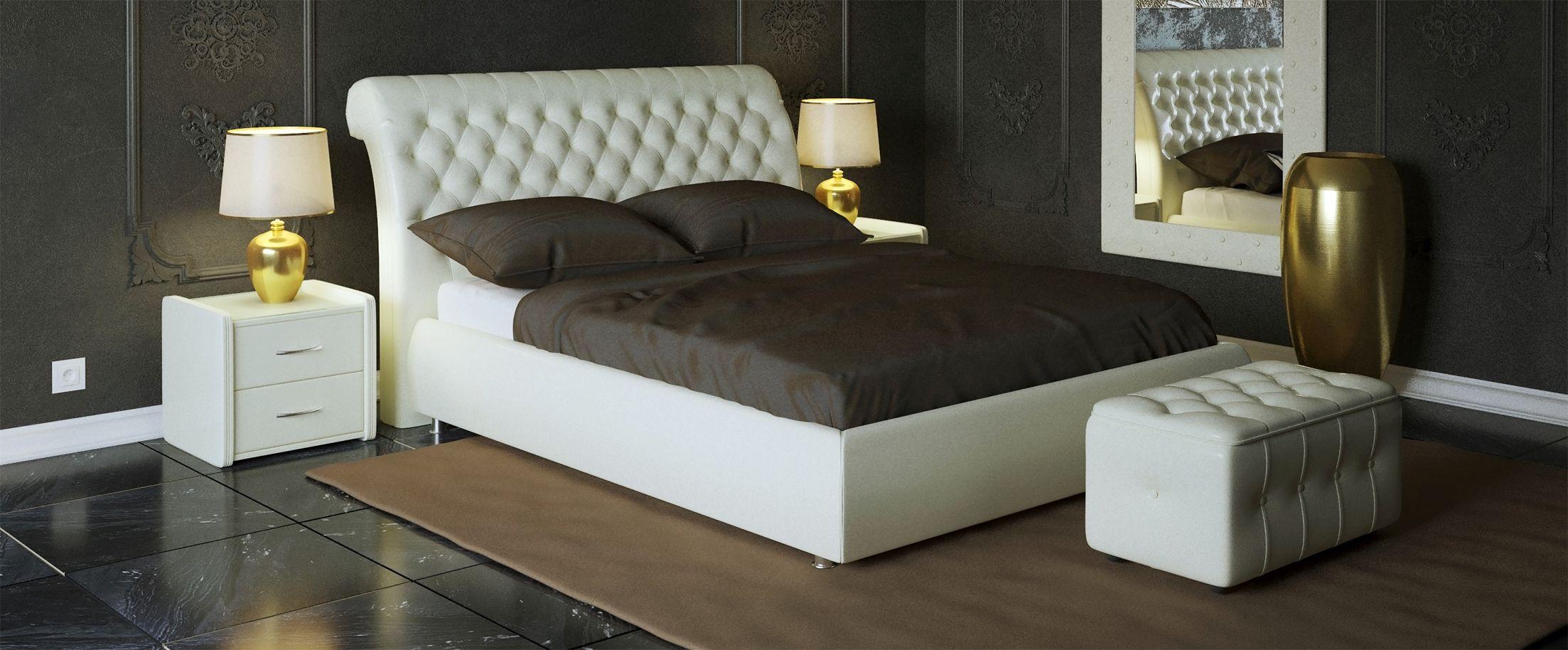 Кровать двуспальная Эрмитаж Модель 587Кровать «Эрмитаж» полностью соответствует своему названию, позволяя, как любоваться собой, являясь центром интерьера спальни, так и даруя удобства и ощущения прикосновения к прекрасному.<br><br>Ширина см: 165<br>Глубина см: 242<br>Высота см: 113<br>Ширина спального места см: 140<br>Глубина спального места см: 200<br>Подъемный механизм: Есть<br>Материал каркаса: ДСП<br>Материал обивки: Экокожа<br>Цвет: Белый<br>Код ткани: Марципан