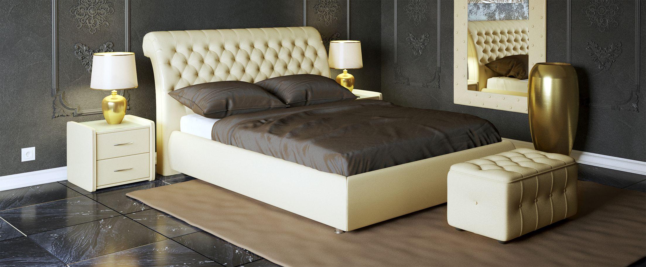 Кровать двуспальная Эрмитаж Модель 587Кровать «Эрмитаж» полностью соответствует своему названию, позволяя, как любоваться собой, являясь центром интерьера спальни, так и даруя удобства и ощущения прикосновения к прекрасному.<br><br>Ширина см: 185<br>Глубина см: 242<br>Высота см: 113<br>Ширина спального места см: 160<br>Длина спального места см: 200<br>Встроенное основание: Есть<br>Материал каркаса: ДСП<br>Материал обивки: Экокожа<br>Подъемный механизм: Нет<br>Цвет: Бежевый<br>Код ткани: Суфле<br>Бренд: Другие
