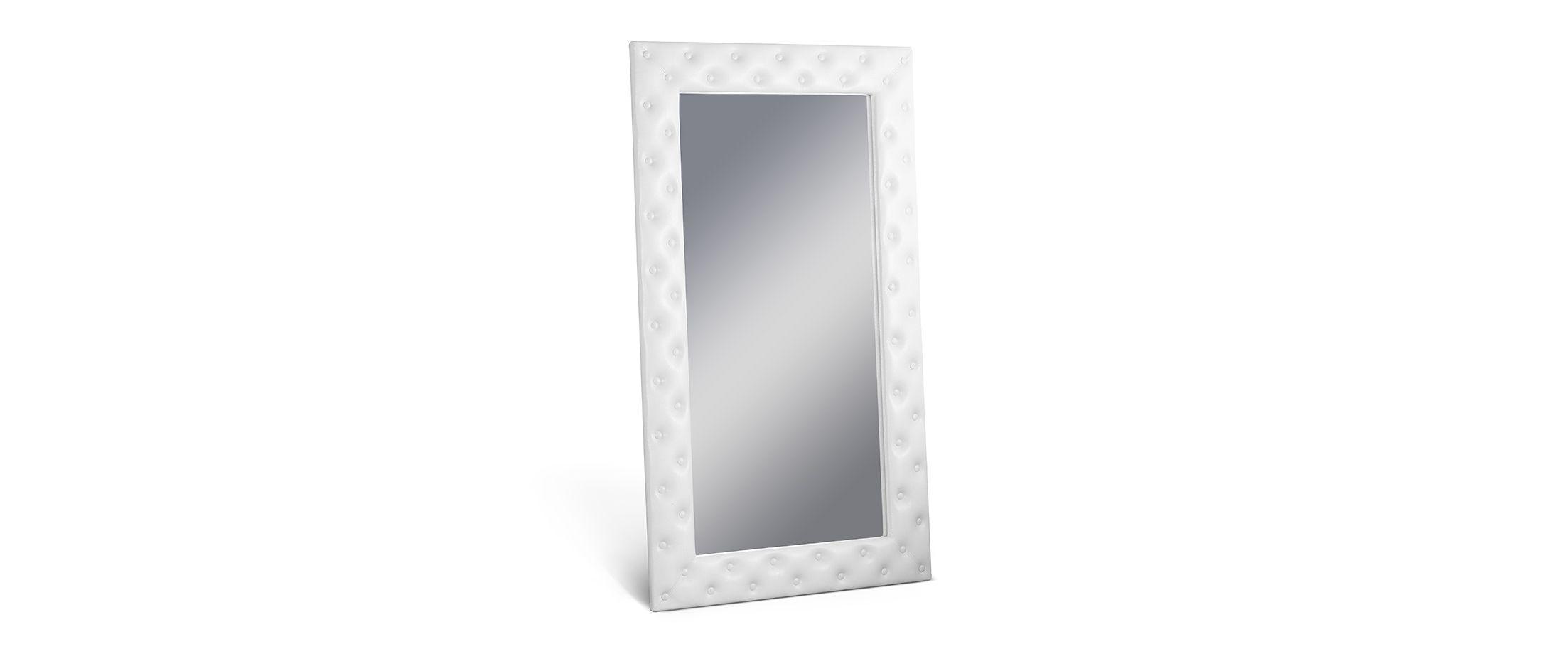 Зеркало Кааба большое с пуговицами марципанЗеркало навесное в спальню. Обивка из экокожи с декоративными пуговицами. Артикул: К000485<br><br>Ширина см: 101<br>Глубина см: 4<br>Высота см: 171<br>Цвет: Марципан