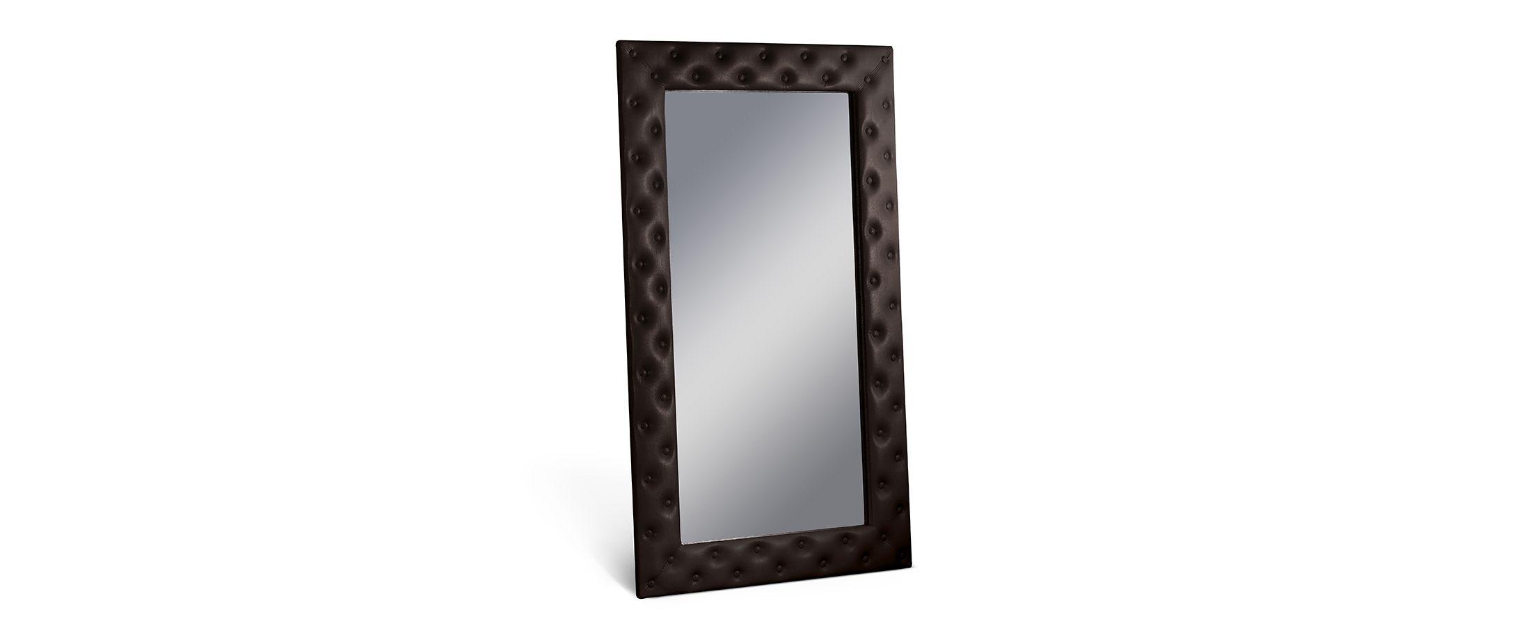 Зеркало Кааба большое с пуговицами пралинеЗеркало навесное в спальню. Обивка из экокожи с декоративными пуговицами. Артикул: К000547<br><br>Ширина см: 101<br>Глубина см: 4<br>Высота см: 171<br>Цвет: Пралине
