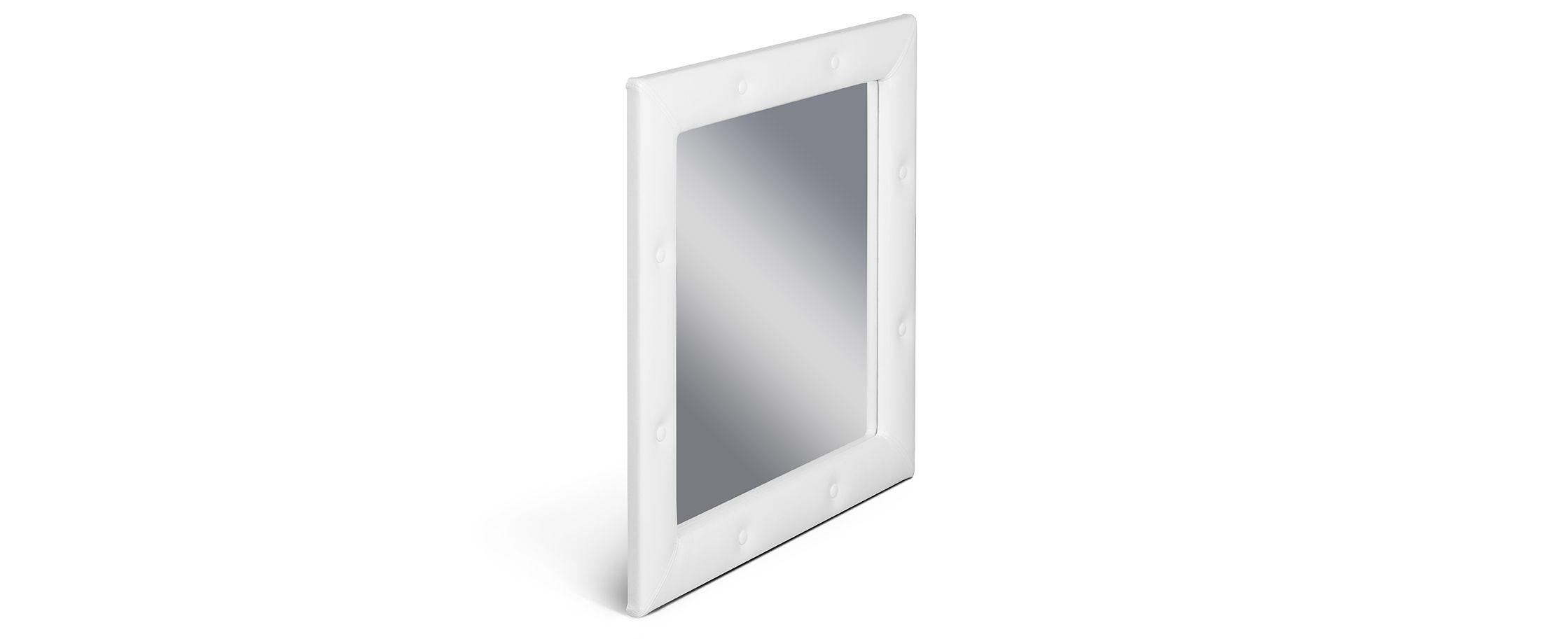 Зеркало Кааба марципанЗеркало навесное в спальню. Обивка из экокожи с декоративными пуговицами. Артикул: К000441<br><br>Ширина см: 86<br>Глубина см: 4<br>Высота см: 86<br>Цвет: Белый