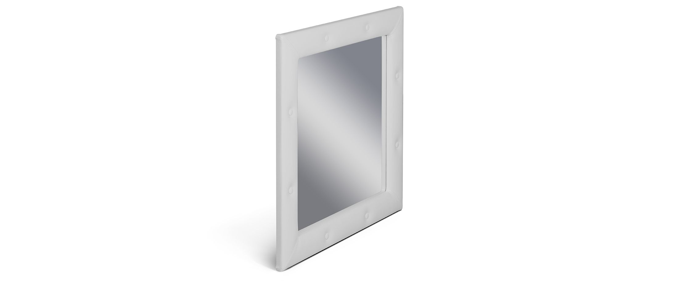 Зеркало Кааба молокоЗеркало навесное в спальню. Обивка из экокожи с декоративными пуговицами. Артикул: К000444<br>
