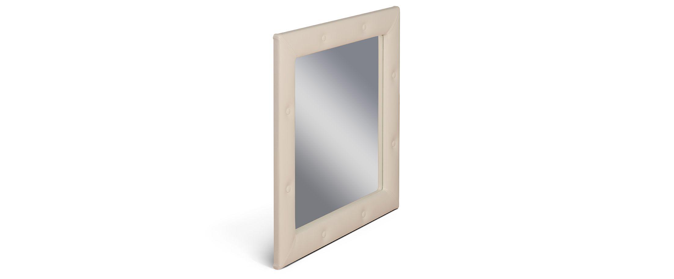Зеркало Кааба суфлеЗеркало навесное в спальню. Обивка из экокожи с декоративными пуговицами. Артикул: К000442<br><br>Ширина см: 86<br>Глубина см: 4<br>Высота см: 86<br>Цвет: Суфле<br>Материал: Экокожа