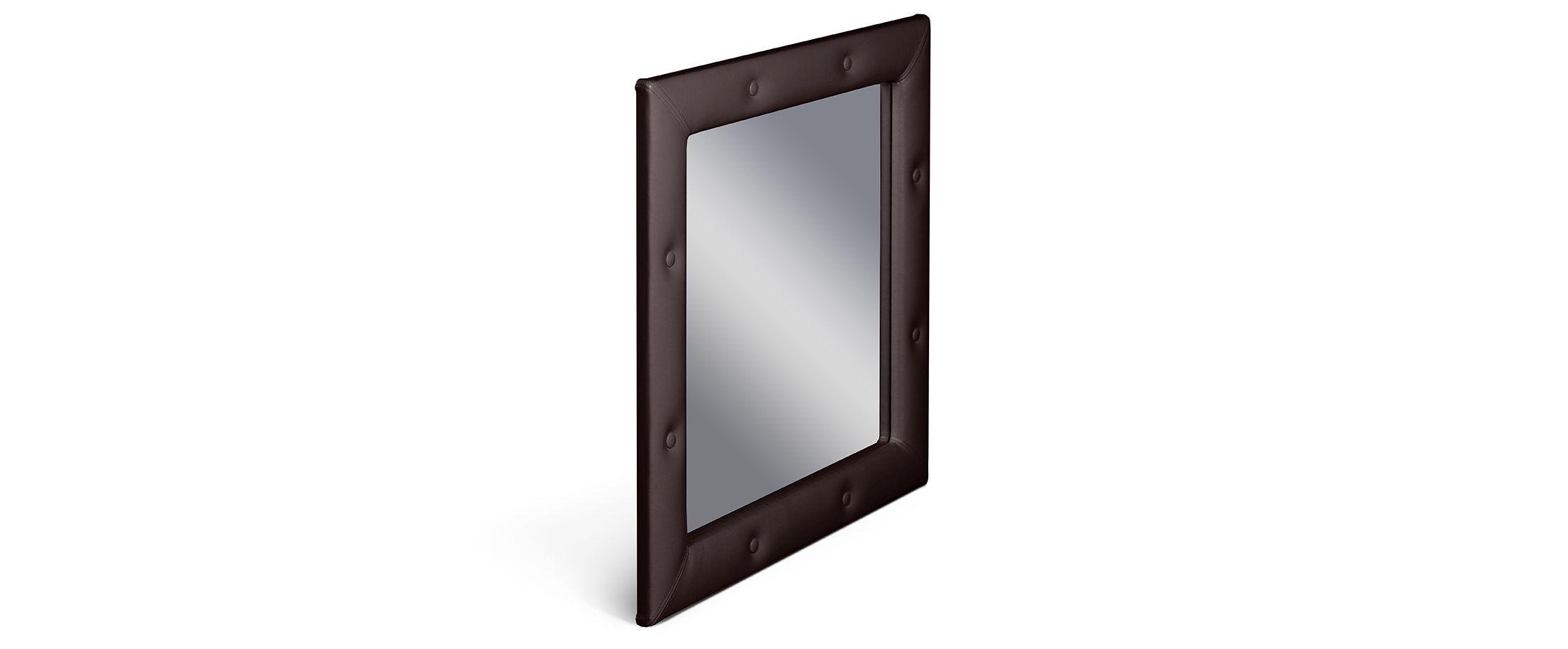 Зеркало Кааба кофеЗеркало навесное в спальню. Обивка из экокожи с декоративными пуговицами. Артикул: К000443<br><br>Ширина см: 86<br>Глубина см: 4<br>Высота см: 86<br>Цвет: Коричневый