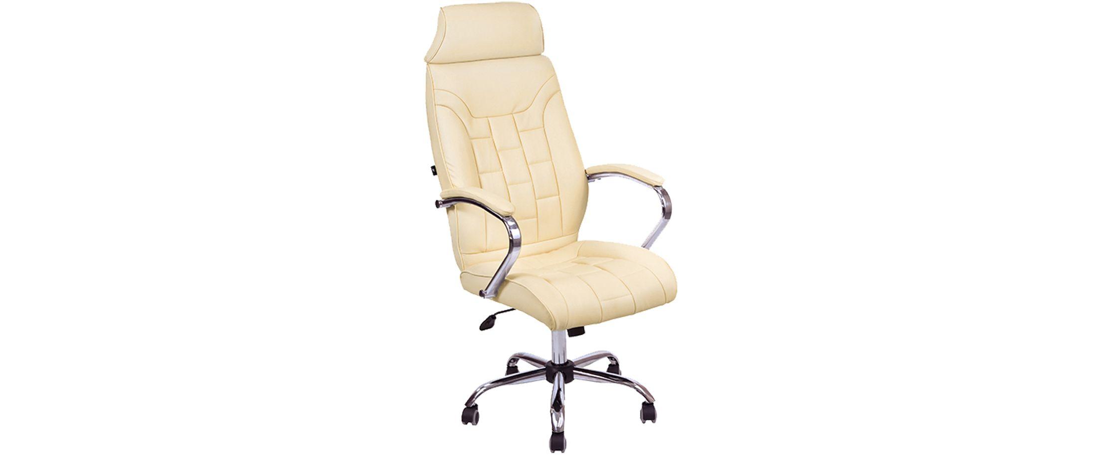 Кресло офисное AV 130 из экокожи цвет слоновая кость Модель 999Кресло офисное AV 130 из экокожи цвет слоновая кость Модель 999. Артикул Д000717<br>