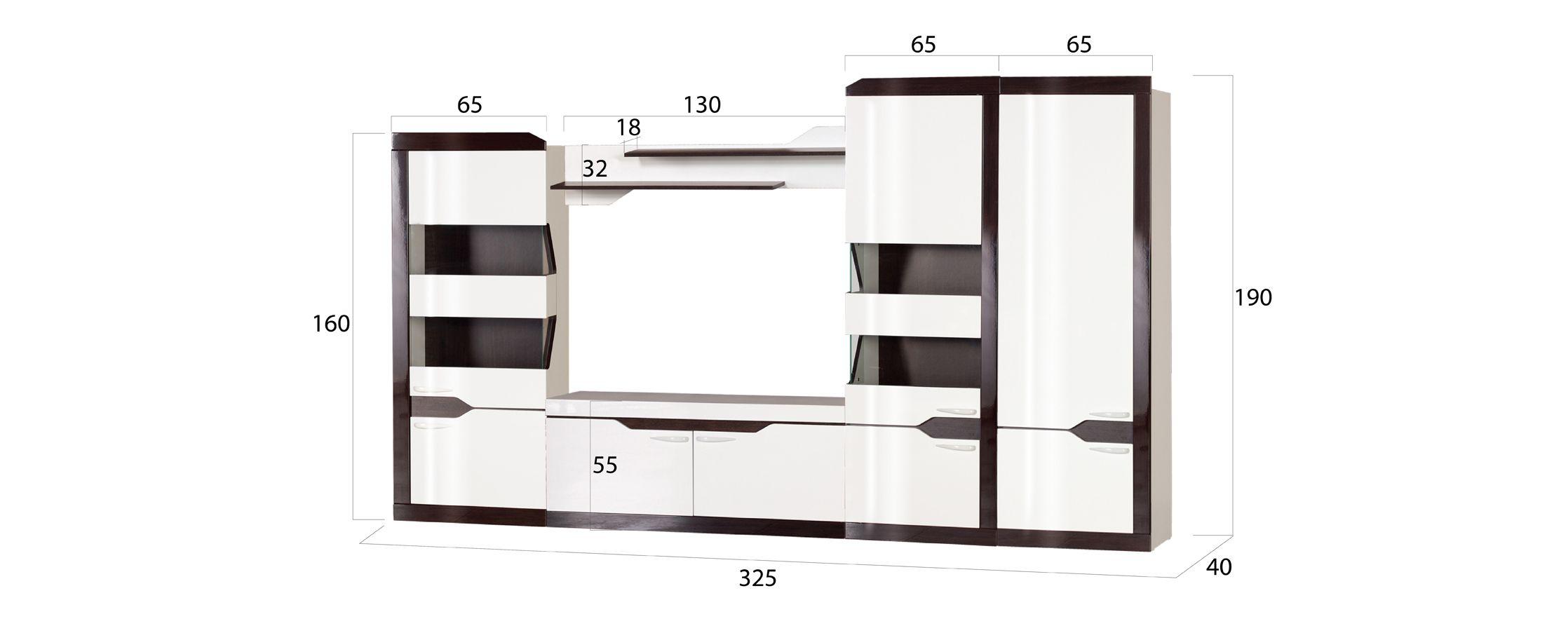 Гостиная РондаГостиная Ронда Модель 902. Артикул Д000532.<br><br>Ширина см: 325<br>Глубина см: 40<br>Высота см: 190<br>Материал фасада: МДФ<br>Цвет корпуса: Белый/Венге<br>Цвет фасада: Венге глянец<br>Материал корпуса: ЛДСП