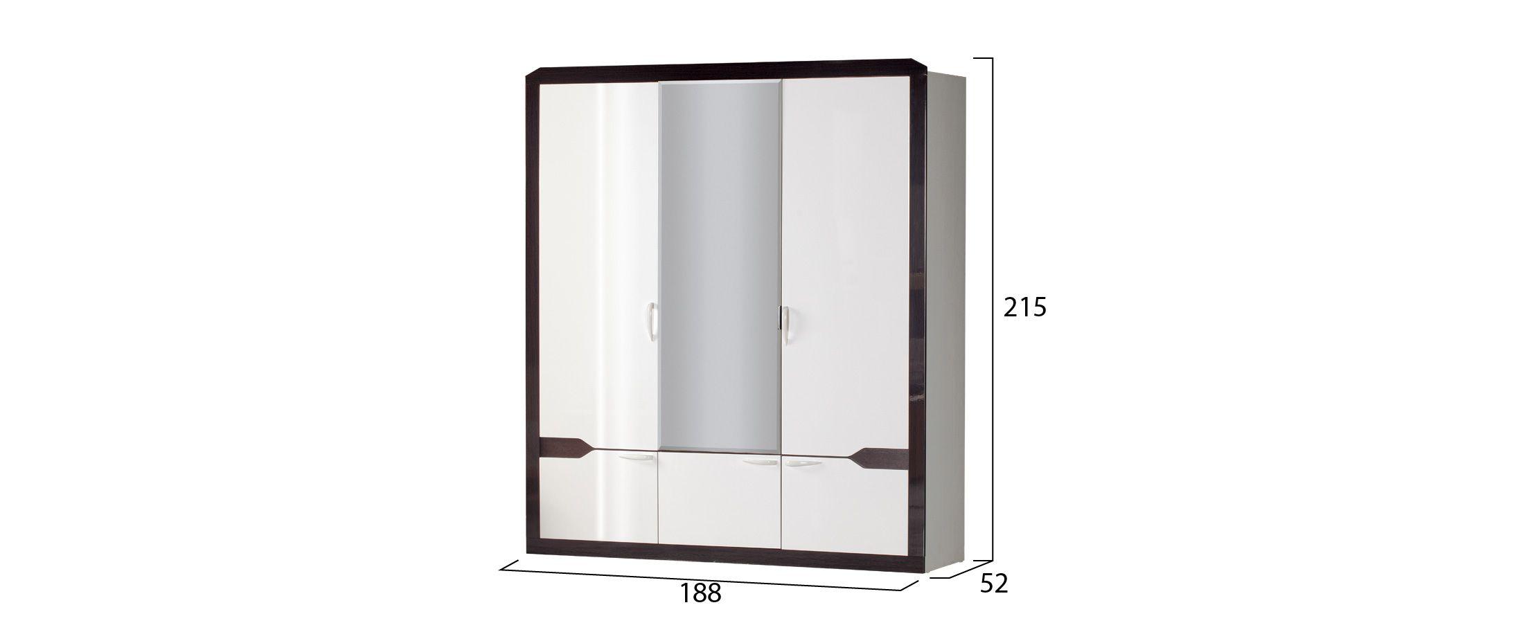 Шкаф 3-дверный Ронда 310Шкаф 3-дверный Ронда 310 Модель 902. Артикул Д000761.<br><br>Ширина см: 188<br>Глубина см: 52<br>Высота см: 215<br>Наличие зеркала: Да<br>Цвет: Белый<br>Цвет корпуса: Белый/Венге<br>Цвет фасада: Белый глянец, Венге глянец<br>Материал фасада: МДФ<br>Материал корпуса: ЛДСП