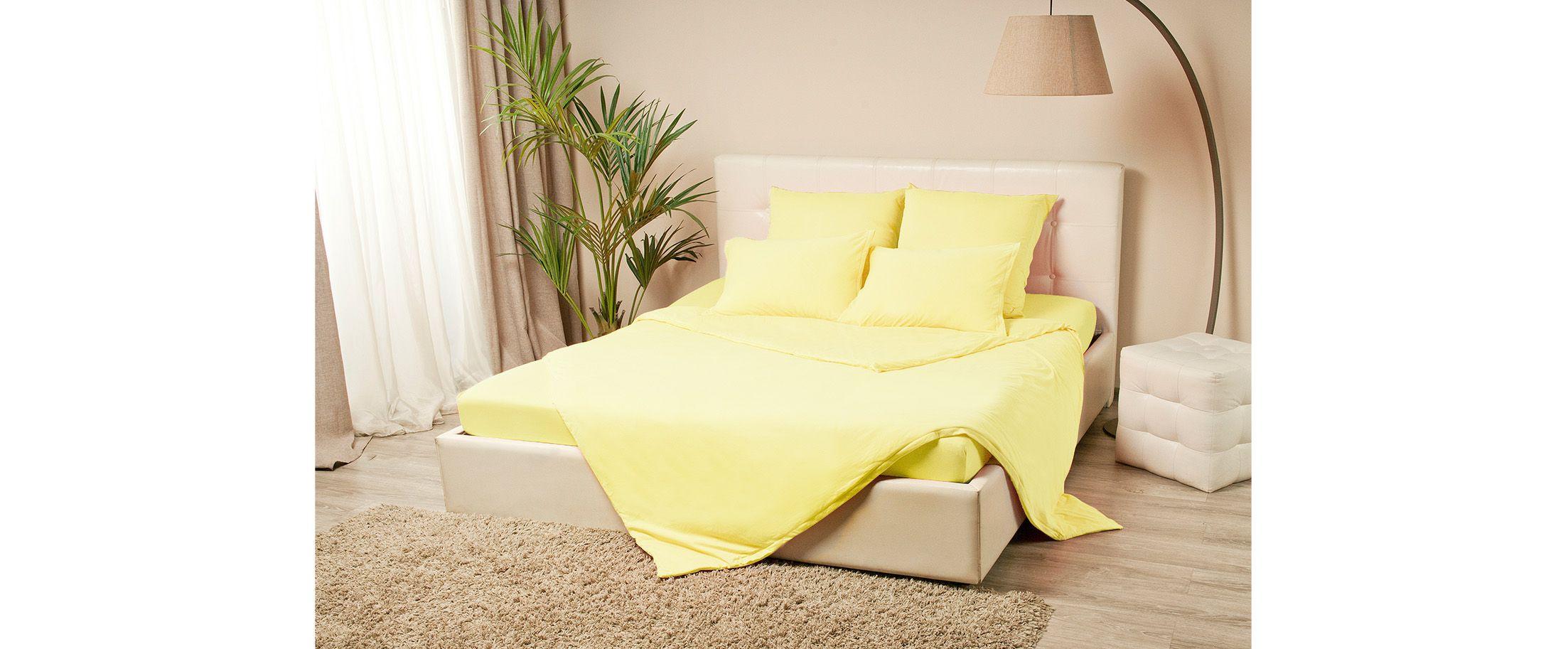 Простыня трикотажная на резинке 180х200 желтого цвета Violett Модель 4000Простыня трикотажная на резинке 180х200 Violett Модель 4000. Артикул К000596<br>