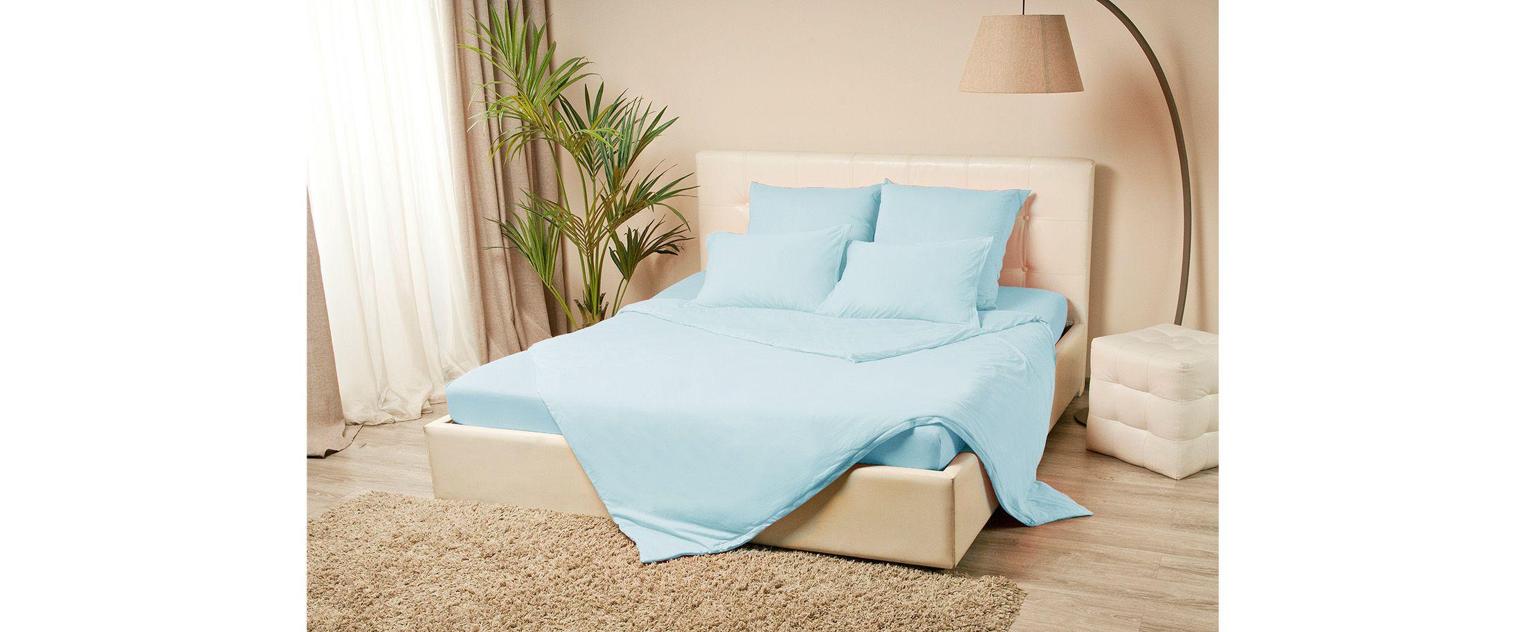 Простыня трикотажная на резинке 160х200 голубого цвета Violett Модель 4000