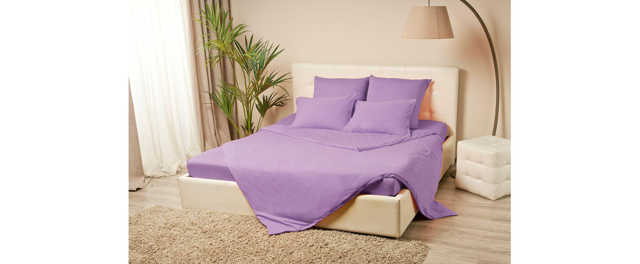 Простыня трикотажная на резинке 120х200 сиреневого цвета Violett Модель 4000