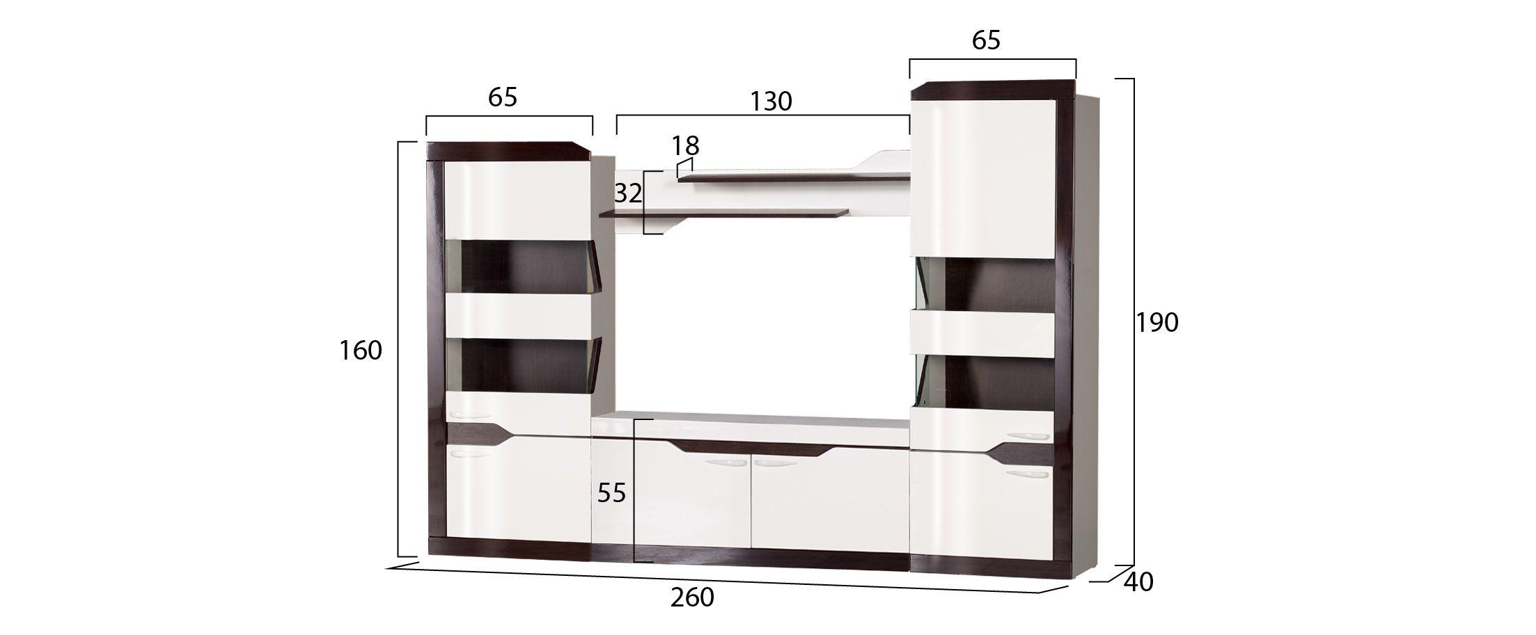 Гостиная Ронда миниГостиная Ронда мини Модель 902. Артикул Д000782.<br><br>Ширина см: 260<br>Глубина см: 40<br>Высота см: 190<br>Материал фасада: МДФ<br>Цвет корпуса: Белый/Венге<br>Цвет фасада: Венге глянец<br>Материал корпуса: ЛДСП