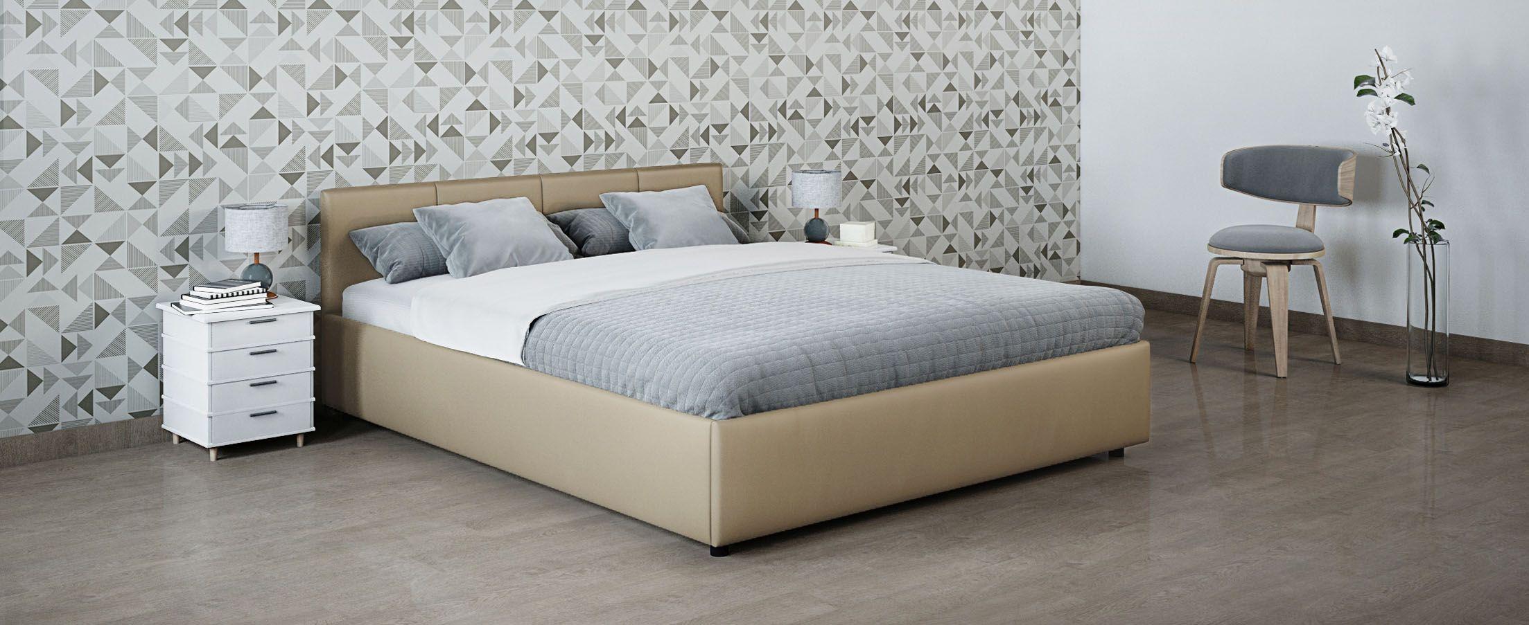 Кровать двуспальная Прима 140х200 Модель 1200Кровать Прима -  элегантное и практичное решение по доступной цене.  Продуманный до мелочей дизайн кровати прекрасно подойдет для любого интерьера.<br><br>Ширина спального места см: 140<br>Глубина спального места см: 200<br>Ширина см: 148<br>Глубина см: 209<br>Высота см: 74<br>Встроенное основание: Есть<br>Материал каркаса: ЛДСП<br>Материал обивки: Экокожа<br>Подъемный механизм: Нет<br>Цвет: Бежевый<br>Код ткани: 36-122
