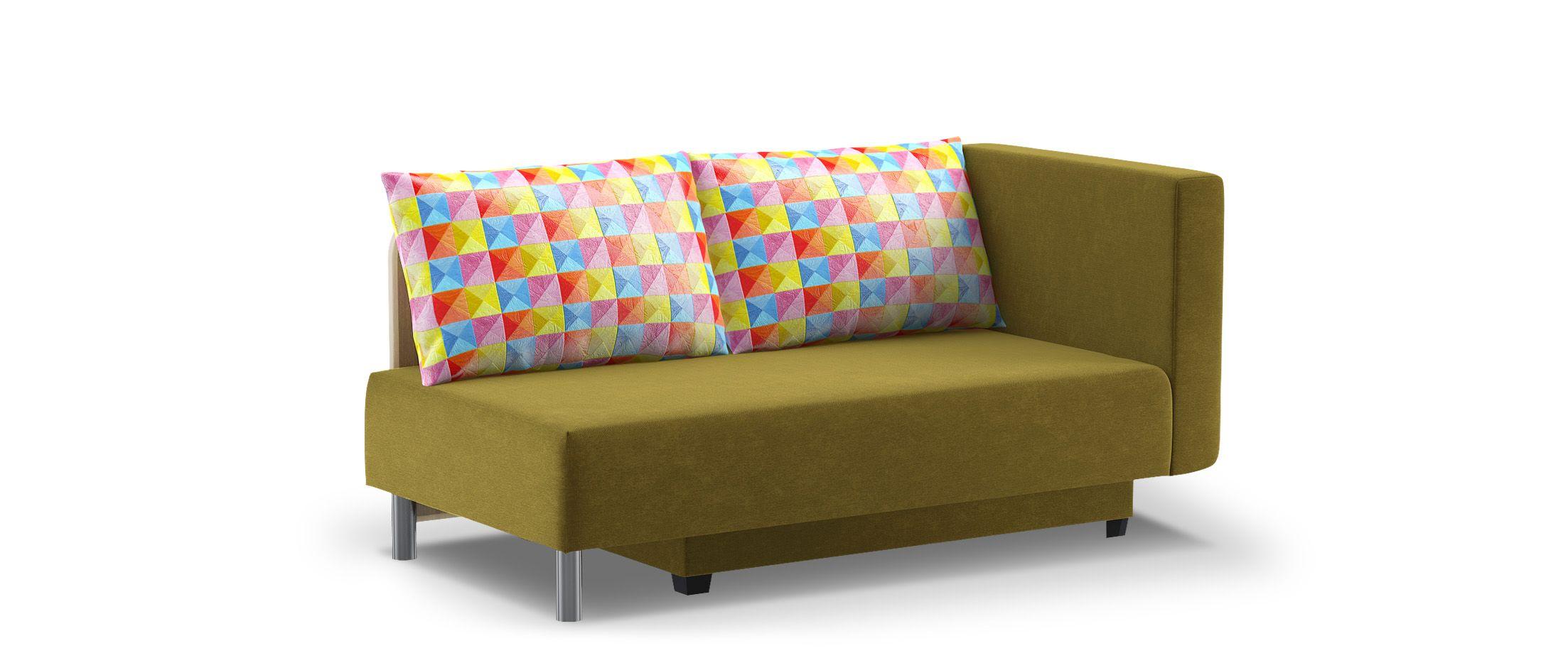 Диван прямой еврокнижка Лион 060Гостевой вариант и полноценное спальное место. Размеры 155х84х79 см. Купить желтый диван еврокнижка с правым подлокотником в интернет-магазине MOON-TRADE.RU.<br>