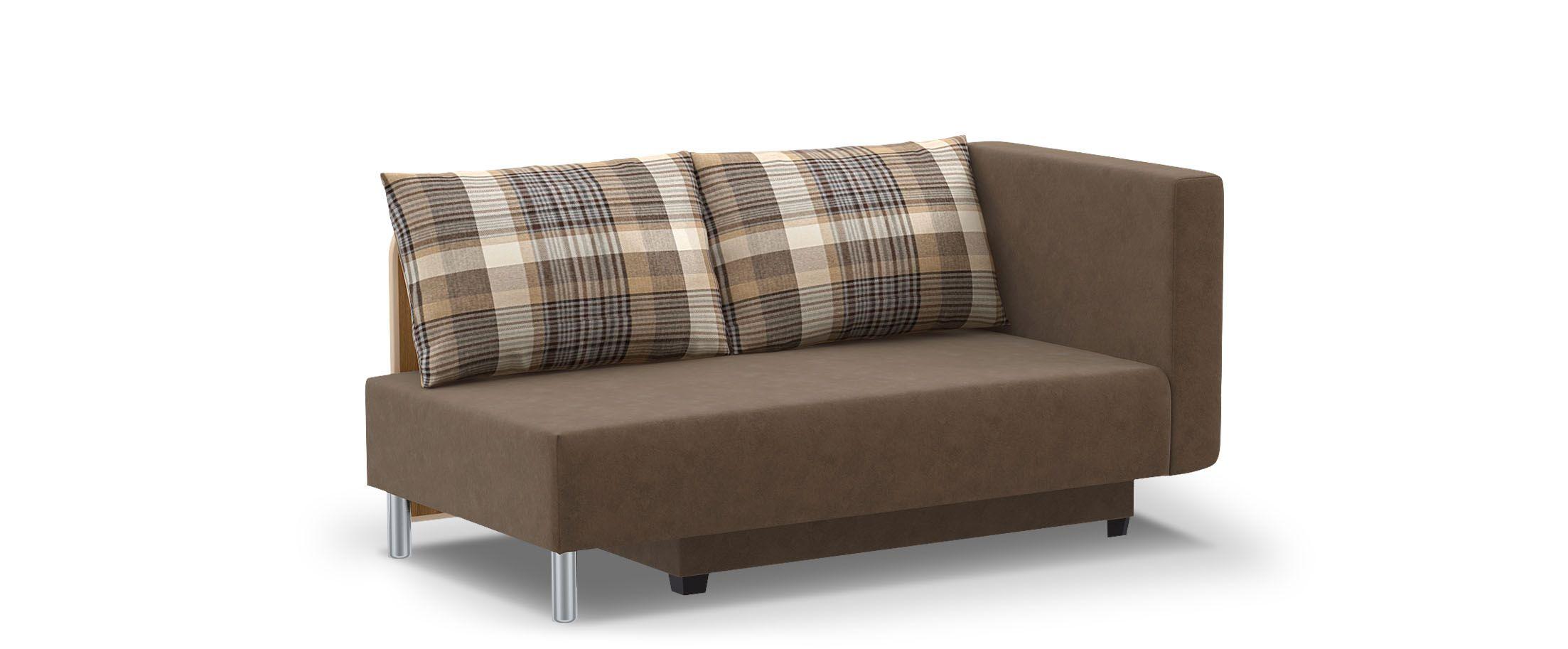 Диван прямой еврокнижка Лион 060Гостевой вариант и полноценное спальное место. Размеры 155х84х79 см. Купить коричневый диван еврокнижка с правым подлокотником в интернет-магазине MOON-TRADE.RU.<br>