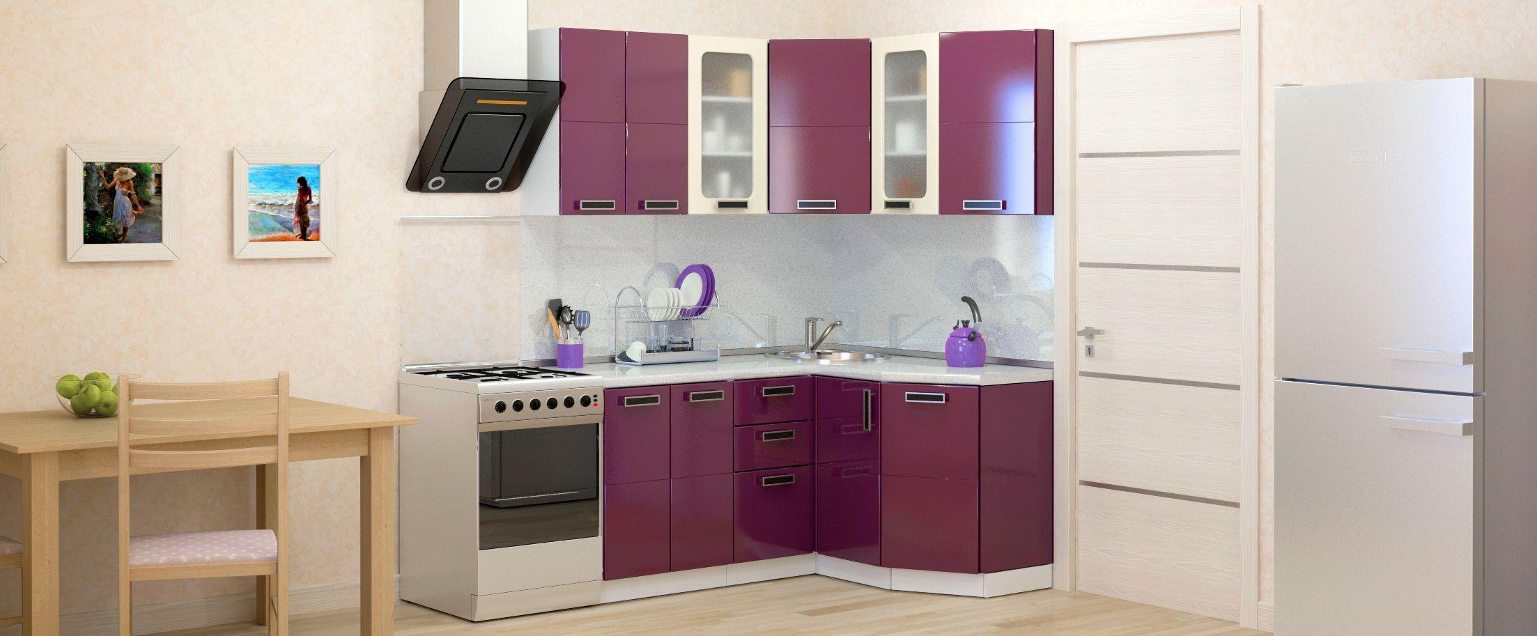 Кухня Баклажан угловая 1,6х1,35 мКупить удобный и практичный набор кухонного гарнитура в интернет магазине MOON-TRADE.RU. Быстрая доставка, вынос упаковки, гарантия! Выгодная покупка!<br>