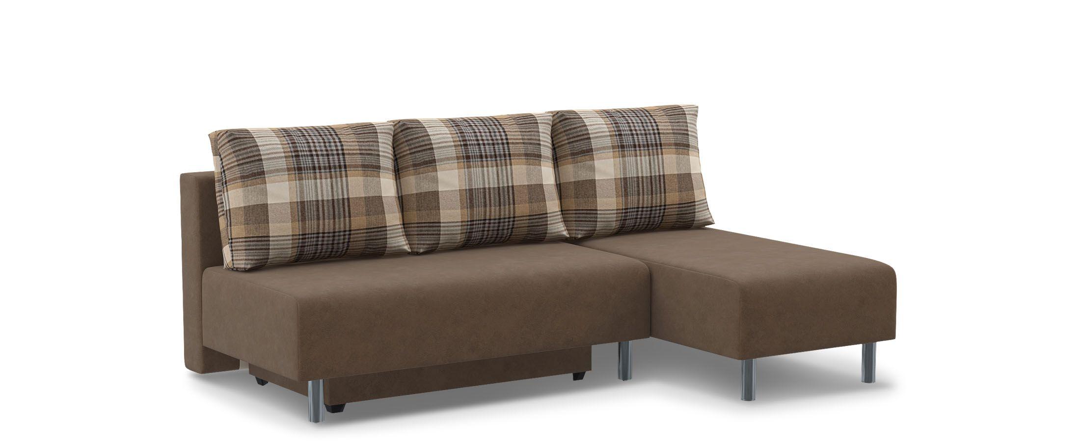 Диван угловой еврокнижка Парма 049Гостевой вариант и полноценное спальное место. Размеры 206х136х87 см. Купить коричневый диван еврокнижка в интернет-магазине MOON-TRADE.RU.<br>