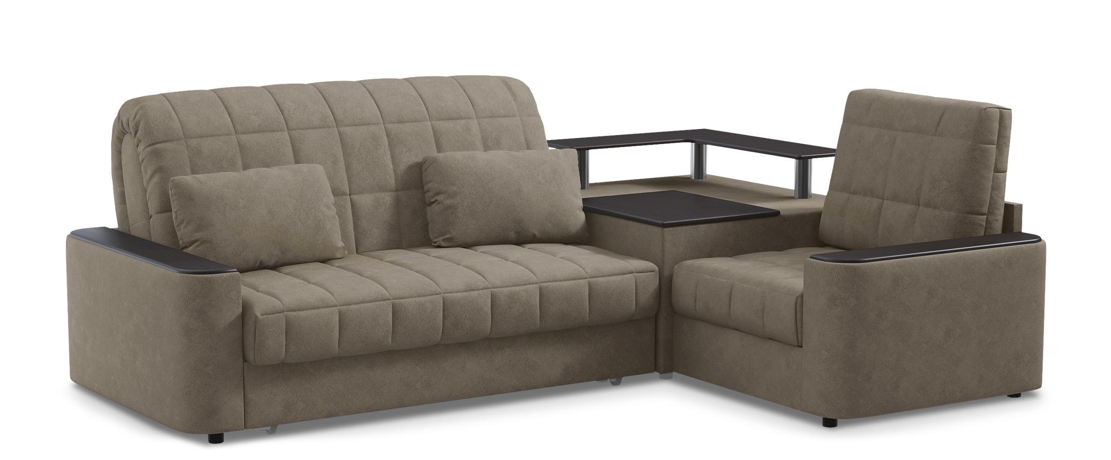 Диван угловой аккордеон Даллас 018Гостевой вариант и полноценное спальное место. Размеры 246х183х90 см. Купить серый диван аккордеон с черным декором в интернет-магазине MOON-TRADE.RU<br>