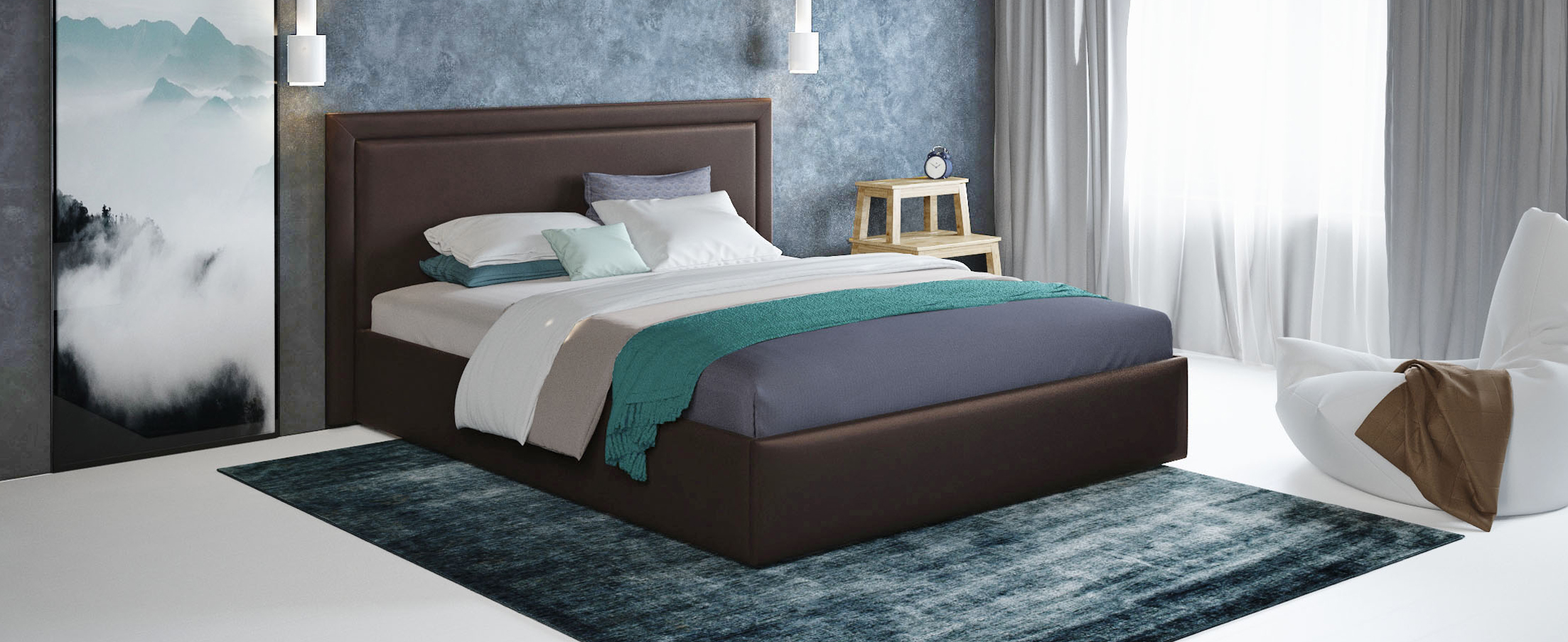 Кровать двуспальная Паола 160х200 Модель 1201Прямоугольная форма изголовья кровати Паола с мягкой рамой по краям напоминает собой картину. Простые строгие формы без лишних деталей позволяют вписать эту кровать в интерьер практически любого стилистического направления.<br><br>Ширина см: 185<br>Глубина см: 209<br>Высота см: 104<br>Ширина спального места см: 160<br>Глубина спального места см: 200<br>Встроенное основание: Есть<br>Материал каркаса: ЛДСП<br>Материал обивки: Экокожа<br>Подъемный механизм: Нет<br>Цвет: Коричневый<br>Код ткани: 36-123