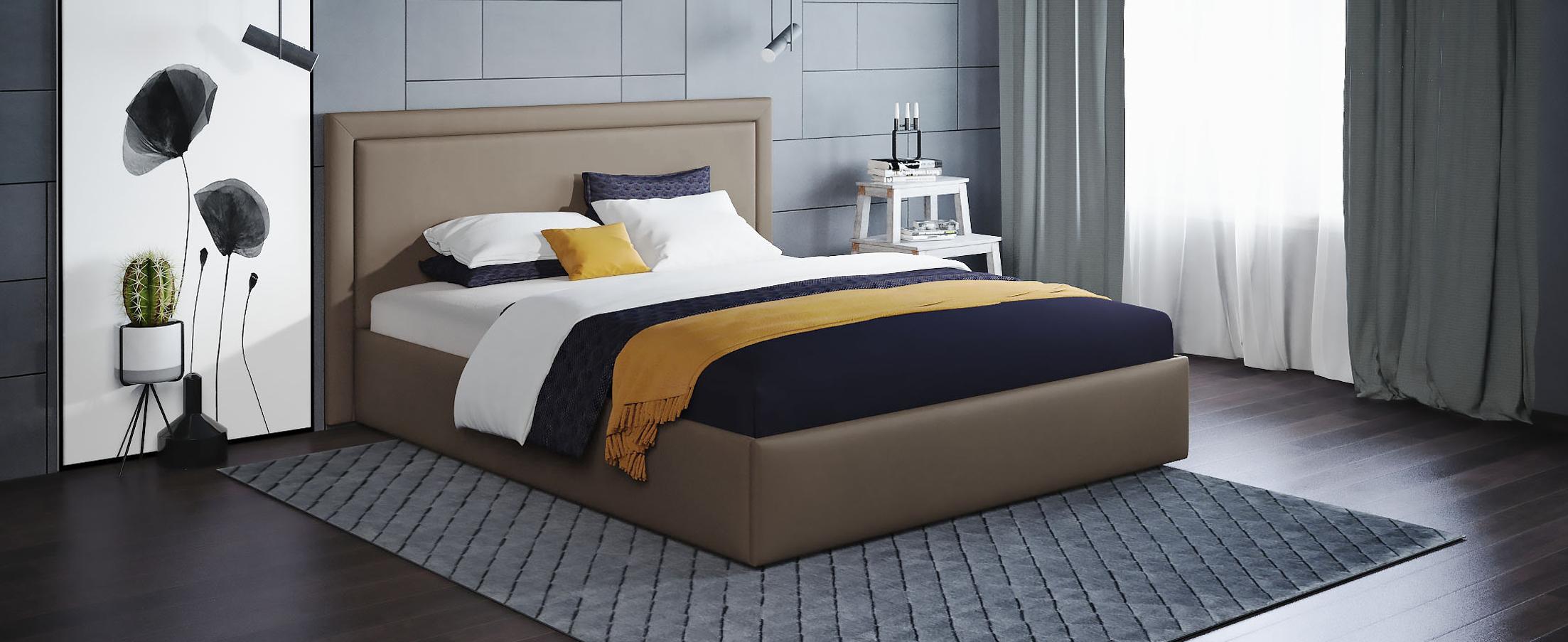 Кровать двуспальная Паола 140х200 Модель 1201Прямоугольная форма изголовья кровати Паола с мягкой рамой по краям напоминает собой картину. Простые строгие формы без лишних деталей позволяют вписать эту кровать в интерьер практически любого стилистического направления.<br>