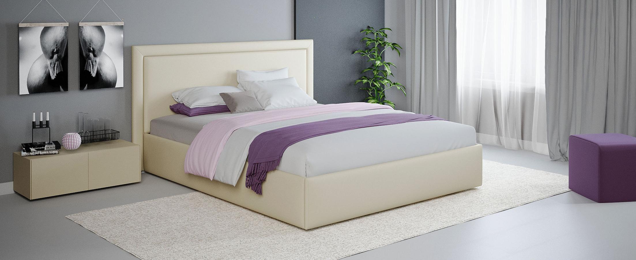 Кровать двуспальная Паола 140х200 Модель 1201Прямоугольная форма изголовья кровати Паола с мягкой рамой по краям напоминает собой картину. Простые строгие формы без лишних деталей позволяют вписать эту кровать в интерьер практически любого стилистического направления.<br><br>Ширина см: 165<br>Глубина см: 209<br>Высота см: 104<br>Ширина спального места см: 140<br>Глубина спального места см: 200<br>Встроенное основание: Есть<br>Материал каркаса: ЛДСП<br>Материал обивки: Экокожа<br>Подъемный механизм: Нет<br>Цвет: Белый<br>Код ткани: 36-148