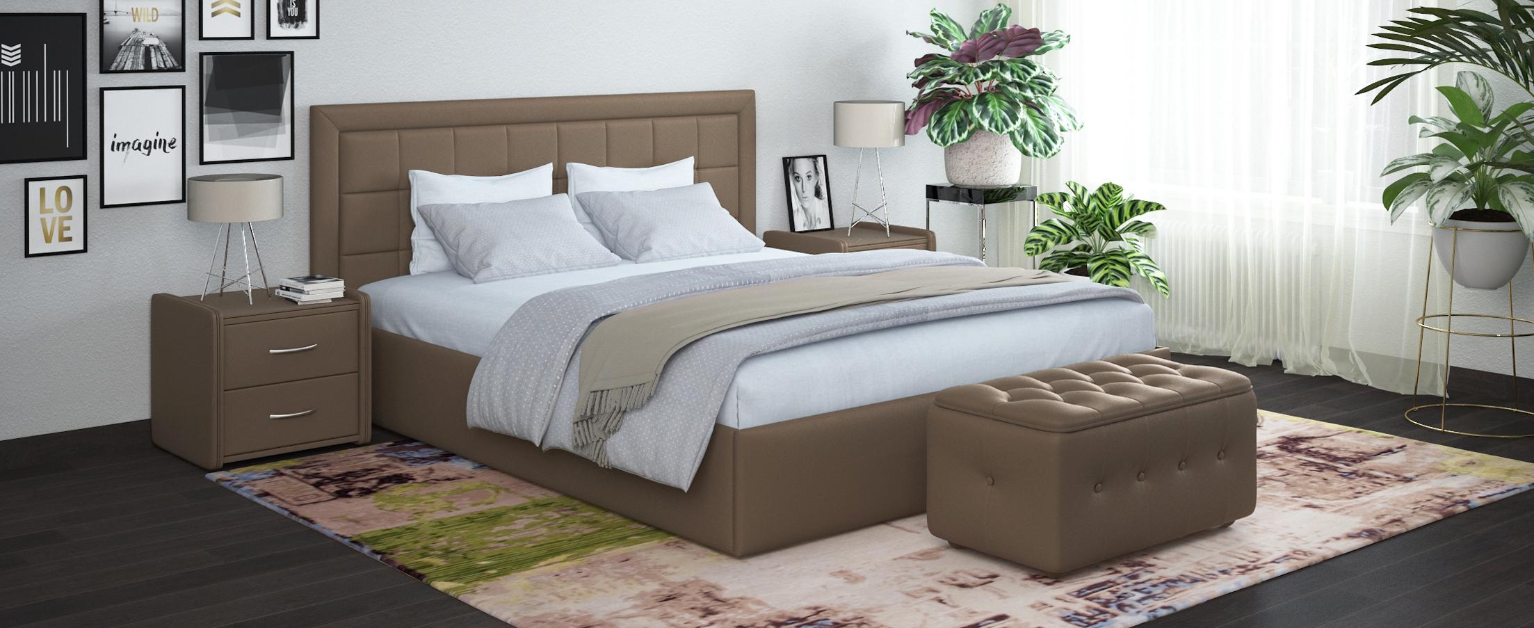 Купить Кровать двуспальная Ноэми 140х200 Модель 1202, MOON TRADE, Бежевый