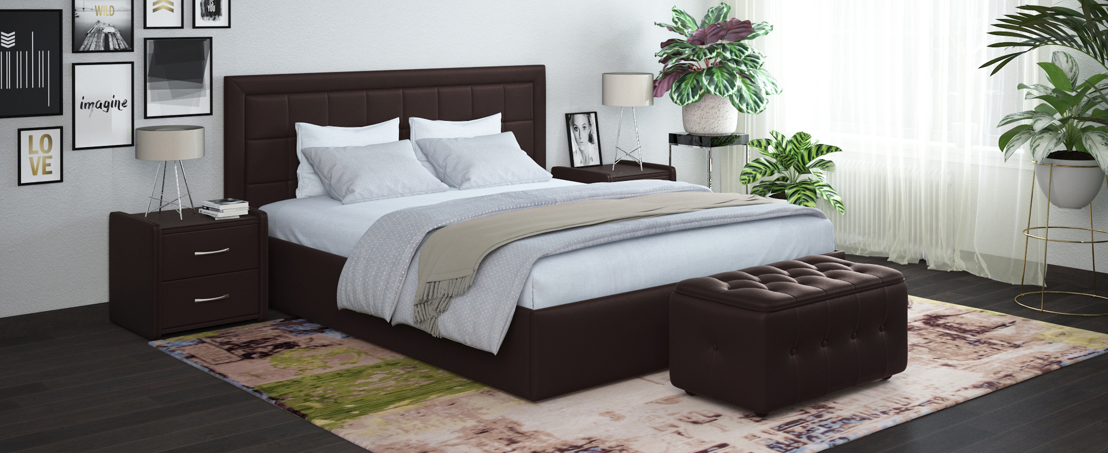 Кровать двуспальная Ноэми 140х200 Модель 1202Строгий дизайн кровати Ноэми является примером сдержанной универсальной красоты, благодаря этому модель прекрасно подходит как к современному интерьеру спальни, так и к классическому.