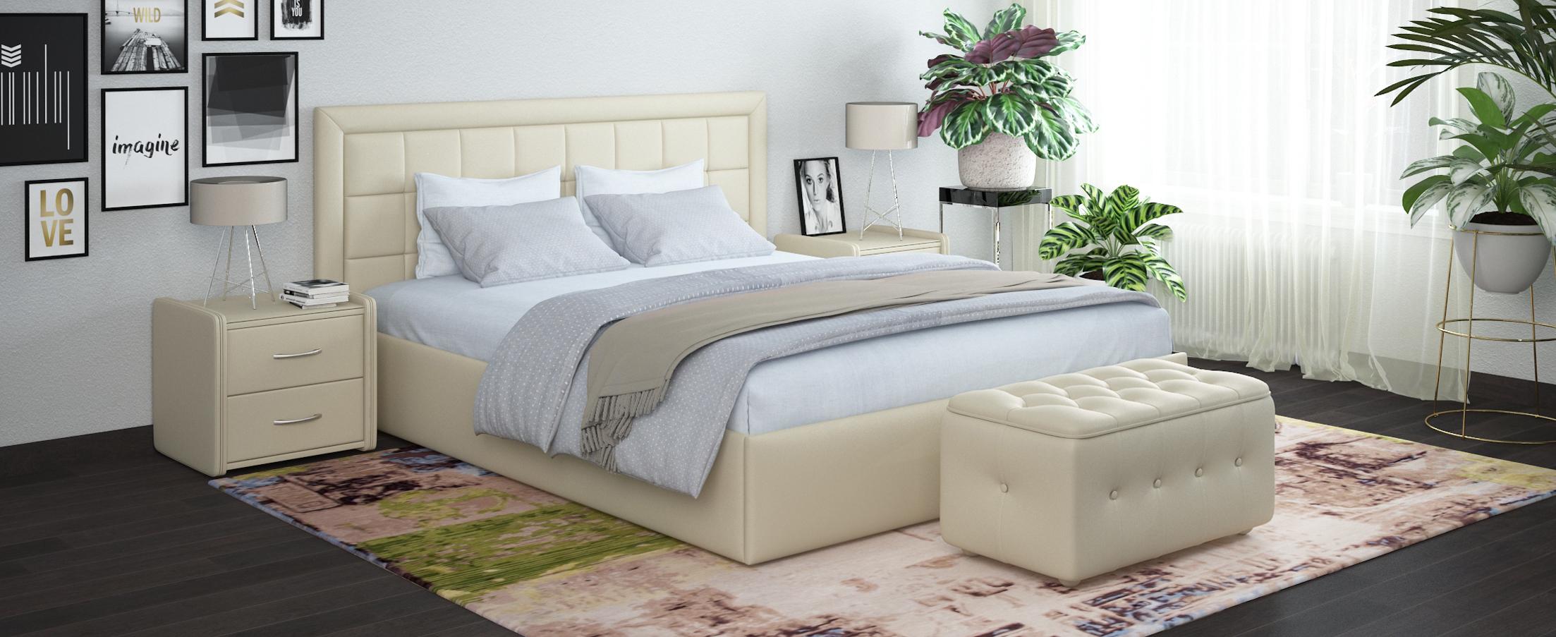 Кровать двуспальная Ноэми 160х200 Модель 1202Строгий дизайн кровати Ноэми является примером сдержанной универсальной красоты, благодаря этому модель прекрасно подходит как к современному интерьеру спальни, так и к классическому.<br><br>Ширина см: 185<br>Глубина см: 209<br>Высота см: 104<br>Ширина спального места см: 160<br>Длина спального места см: 200<br>Подъемный механизм: Есть<br>Материал каркаса: ЛДСП<br>Материал обивки: Экокожа<br>Цвет: Белый<br>Код ткани: 36-148<br>Бренд: MOON-TRADE