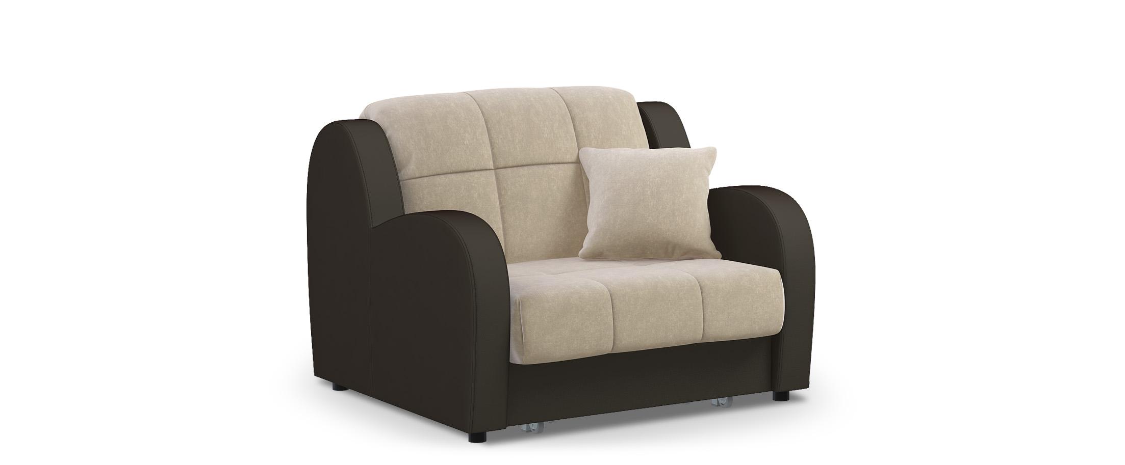 Кресло раскладное Барон 022Купить бежевое кресло-кровать Барон 022. Доставка от 1 дня. Подъём, сборка, вынос упаковки. Гарантия 18 месяцев. Интернет-магазин мебели MOON-TRADE.RU. Артикул: 001688.<br><br>Ширина см: 113<br>Глубина см: 104<br>Высота см: 88<br>Ширина спального места см: 88<br>Глубина спального места см: 204<br>Глубина посадочного места см: 60<br>Механизм: Аккордеон<br>Код ткани: 74-1, 36-123<br>Цвет: Бежевый<br>Материал: Велюр, Экокожа<br>Каркас: Металлокаркас<br>Основание: Берёзовые латы<br>Мягкий настил: ППУ<br>Жёсткость: Жёсткий<br>Чехол: Съёмный