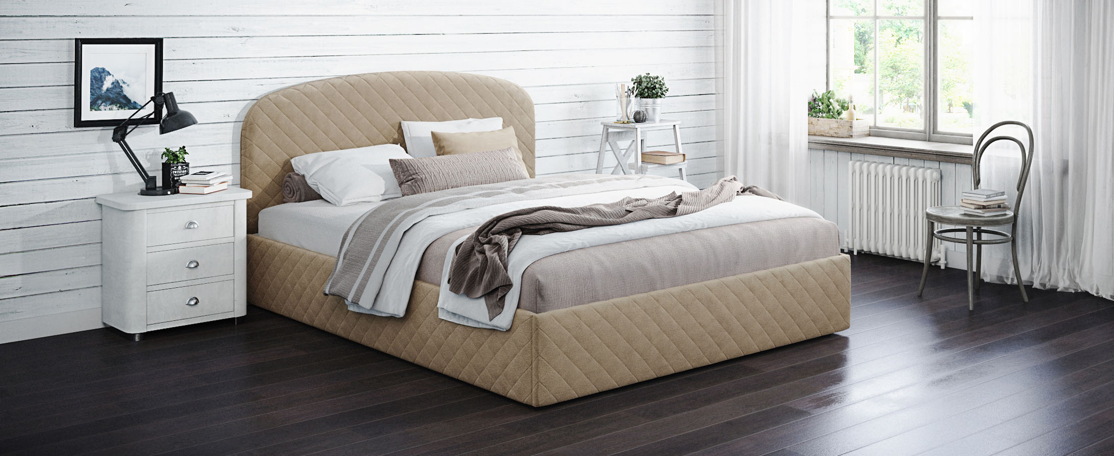 Кровать двуспальная Аллегра 160х200 Модель 1204Благодаря лаконичным формам она может стать как центральным предметом просторного помещения, также будет гармонично смотреться в небольшой спальной комнате.<br><br>Ширина см: 169<br>Глубина см: 210<br>Высота см: 105<br>Ширина спального места см: 160<br>Длина спального места см: 200<br>Встроенное основание: Есть<br>Материал каркаса: ЛДСП<br>Материал обивки: Велюр<br>Подъемный механизм: Нет<br>Цвет: Бежевый<br>Код ткани: 65-24<br>Бренд: MOON-TRADE