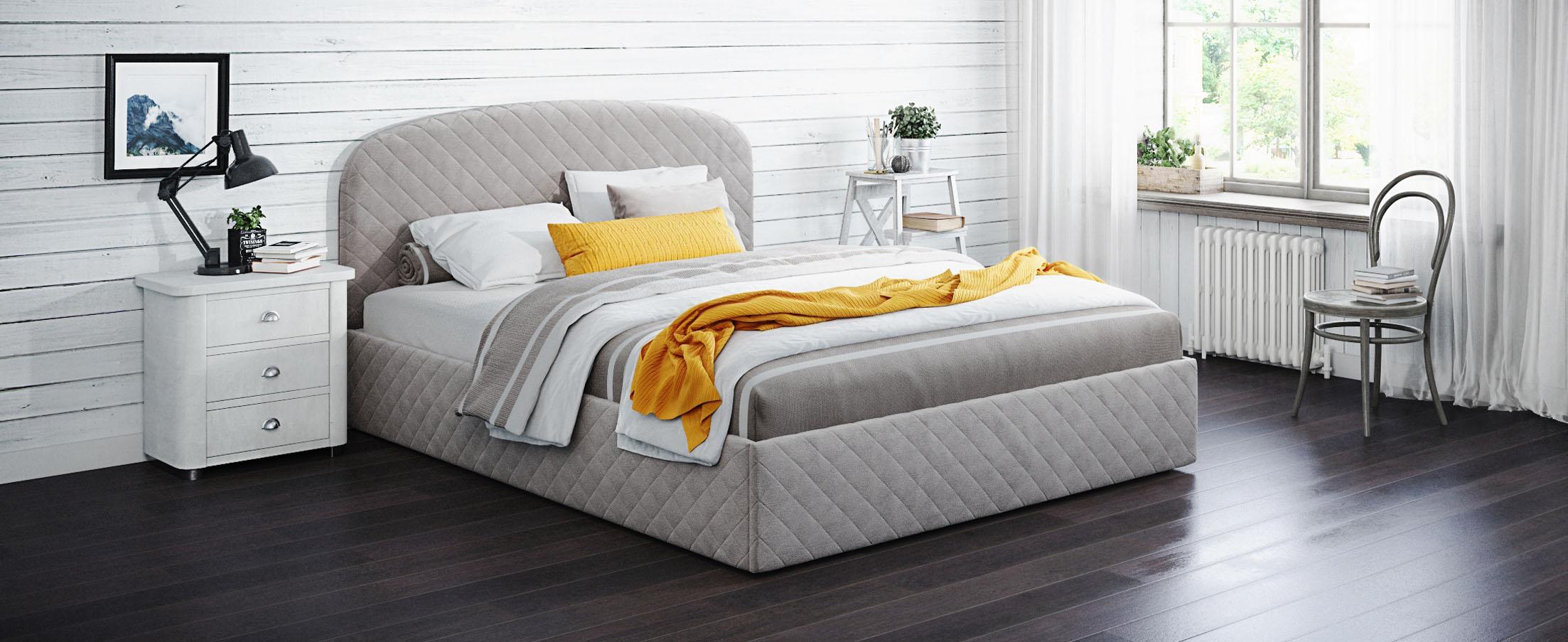 Кровать двуспальная Аллегра 140х200 Модель 1204Благодаря лаконичным формам она может стать как центральным предметом просторного помещения, также будет гармонично смотреться в небольшой спальной комнате.<br><br>Ширина см: 149<br>Глубина см: 210<br>Высота см: 105<br>Ширина спального места см: 140<br>Длина спального места см: 200<br>Подъемный механизм: Есть<br>Материал каркаса: ЛДСП<br>Материал обивки: Велюр<br>Цвет: Серый<br>Код ткани: 65-29<br>Бренд: MOON-TRADE