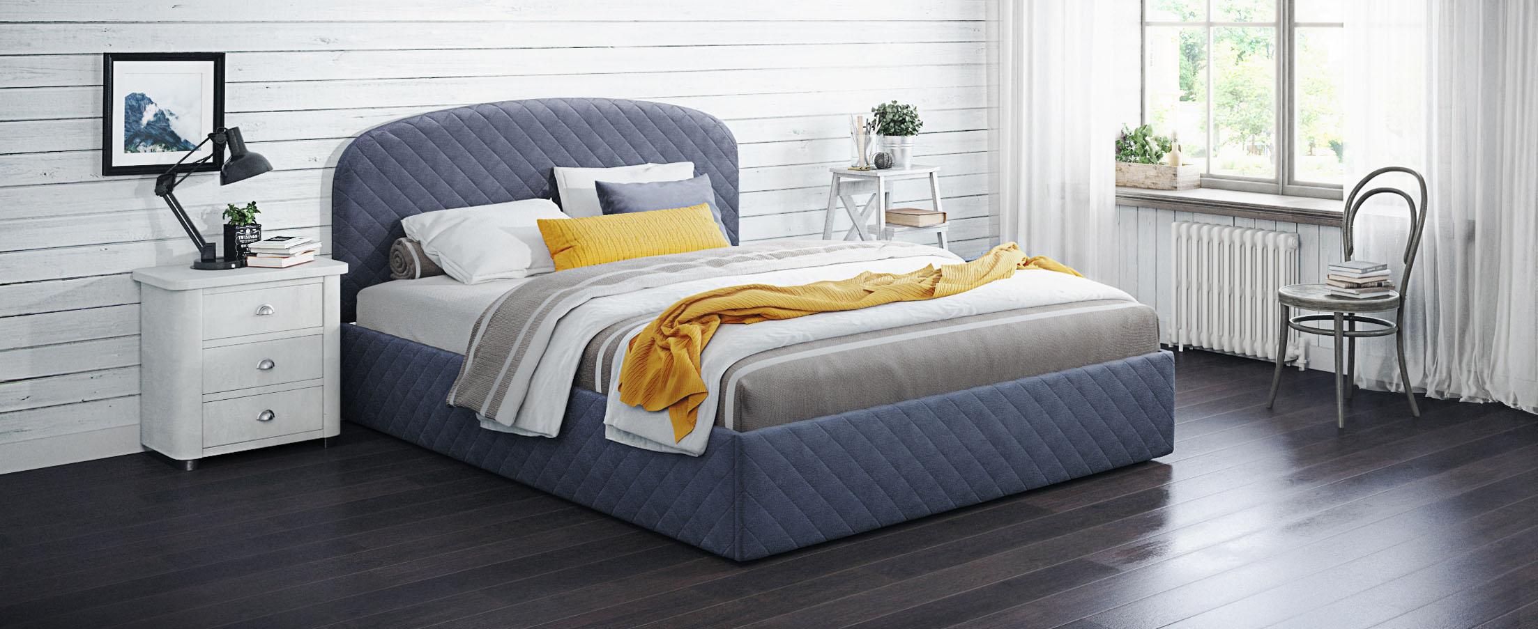 Кровать двуспальная Аллегра 160х200 Модель 1204Благодаря лаконичным формам она может стать как центральным предметом просторного помещения, также будет гармонично смотреться в небольшой спальной комнате.<br><br>Ширина см: 169<br>Глубина см: 210<br>Высота см: 105<br>Ширина спального места см: 160<br>Длина спального места см: 200<br>Подъемный механизм: Есть<br>Материал каркаса: ЛДСП<br>Материал обивки: Велюр<br>Цвет: Синий<br>Код ткани: 65-31<br>Бренд: MOON-TRADE