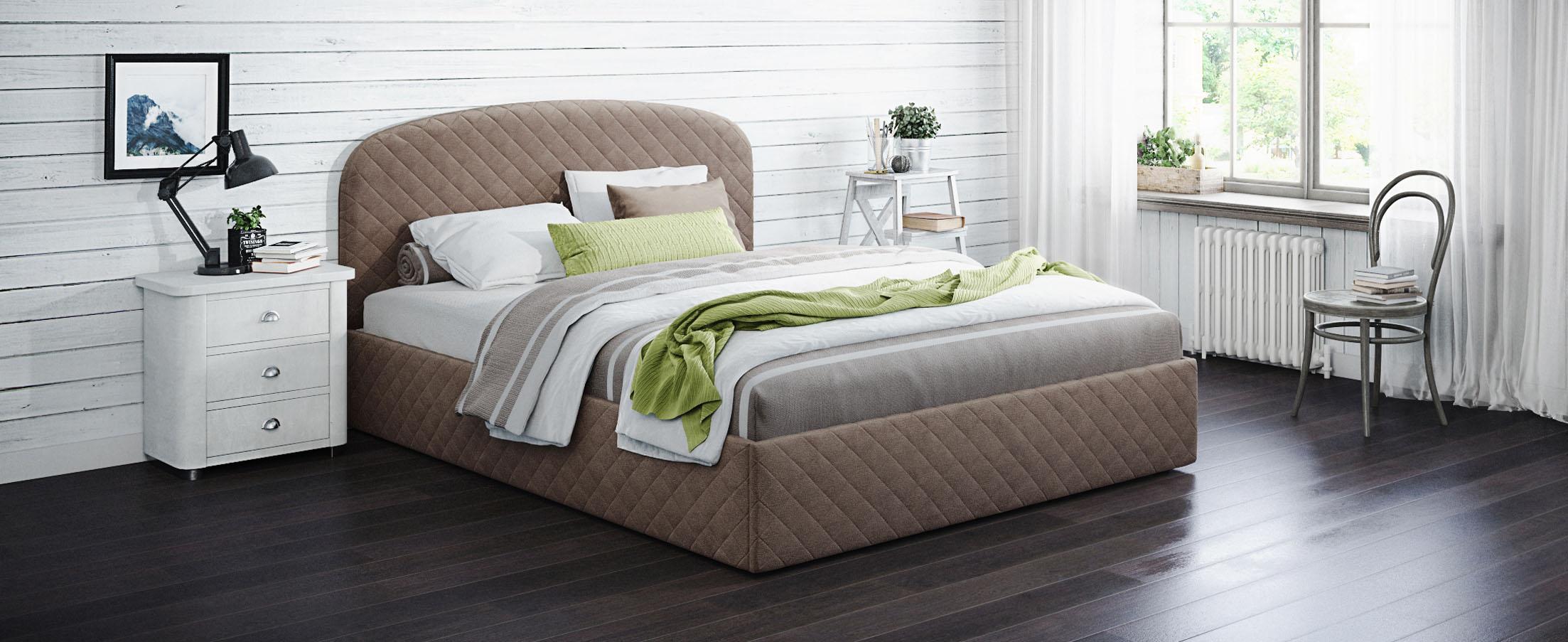 Кровать двуспальная Аллегра 140х200 Модель 1204Благодаря лаконичным формам она может стать как центральным предметом просторного помещения, также будет гармонично смотреться в небольшой спальной комнате.<br>
