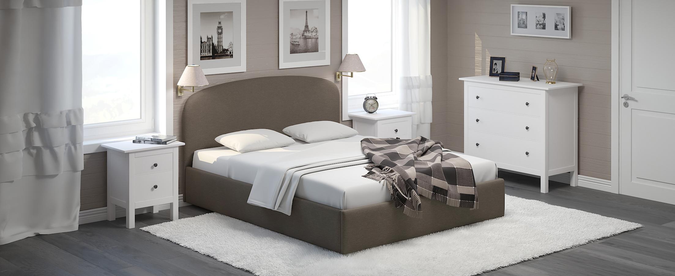 Кровать двуспальная Лия 160х200 Модель 1205Кровать Лия – воплощение мягкости, простора и удобства. Воздушность формы, изящно изогнутая спинка и оригинальный кант на изголовье подчеркнут стиль вашей комнаты.<br><br>Ширина спального места см: 160<br>Длина спального места см: 200<br>Ширина см: 168<br>Глубина см: 210<br>Высота см: 105<br>Встроенное основание: Есть<br>Материал каркаса: ЛДСП<br>Материал обивки: Шенилл<br>Подъемный механизм: Нет<br>Цвет: Коричневый<br>Код ткани: 65-52<br>Бренд: MOON-TRADE