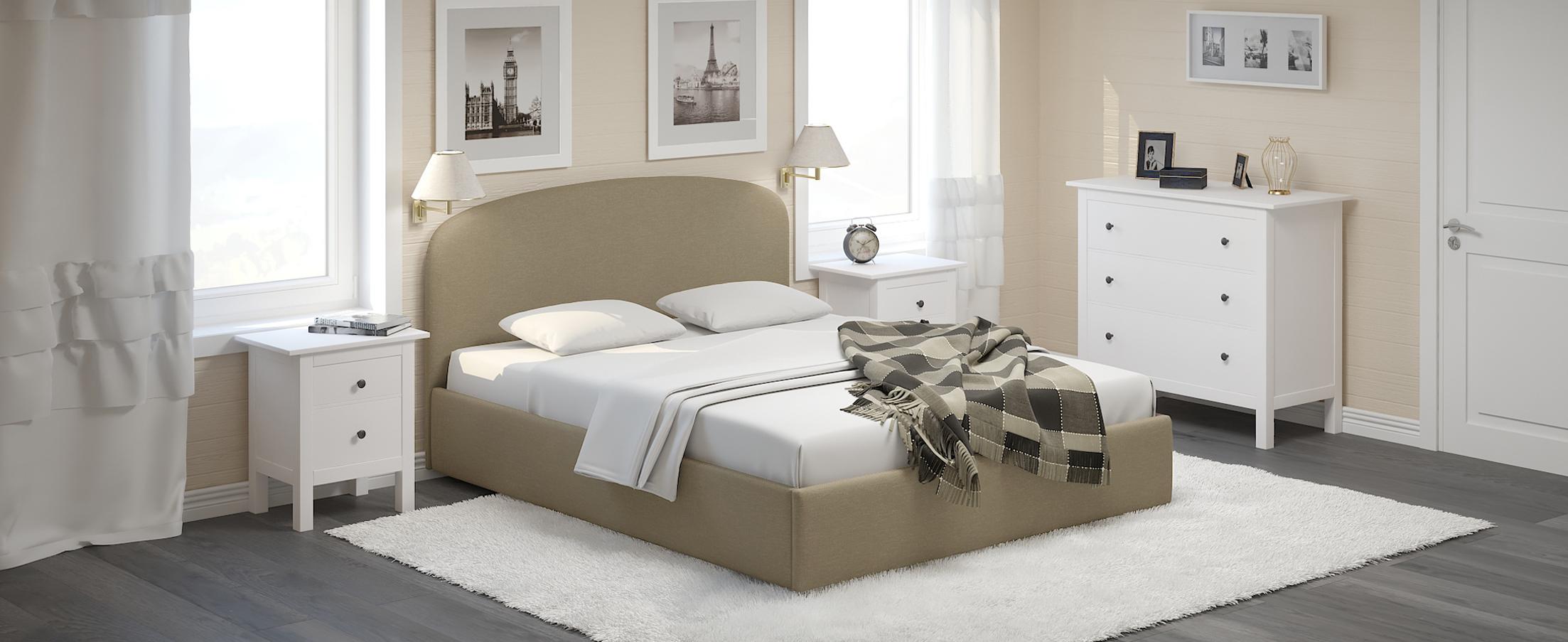 Кровать двуспальная Лия 160х200 Модель 1205Кровать Лия – воплощение мягкости, простора и удобства. Воздушность формы, изящно изогнутая спинка и оригинальный кант на изголовье подчеркнут стиль вашей комнаты.<br><br>Ширина спального места см: 160<br>Глубина спального места см: 200<br>Ширина см: 168<br>Глубина см: 210<br>Высота см: 105<br>Встроенное основание: Есть<br>Материал каркаса: ЛДСП<br>Материал обивки: Шенилл<br>Подъемный механизм: Нет<br>Цвет: Бежевый<br>Код ткани: 65-53