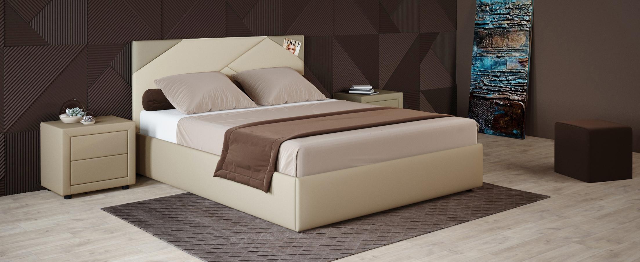 Кровать двуспальная Альба 160х200 Модель 1206Уникальность кровати Альба заключается в геометрических элементах мягкого изголовья, такой дизайнерский прием поможет задать ритм всему интерьеру.<br>