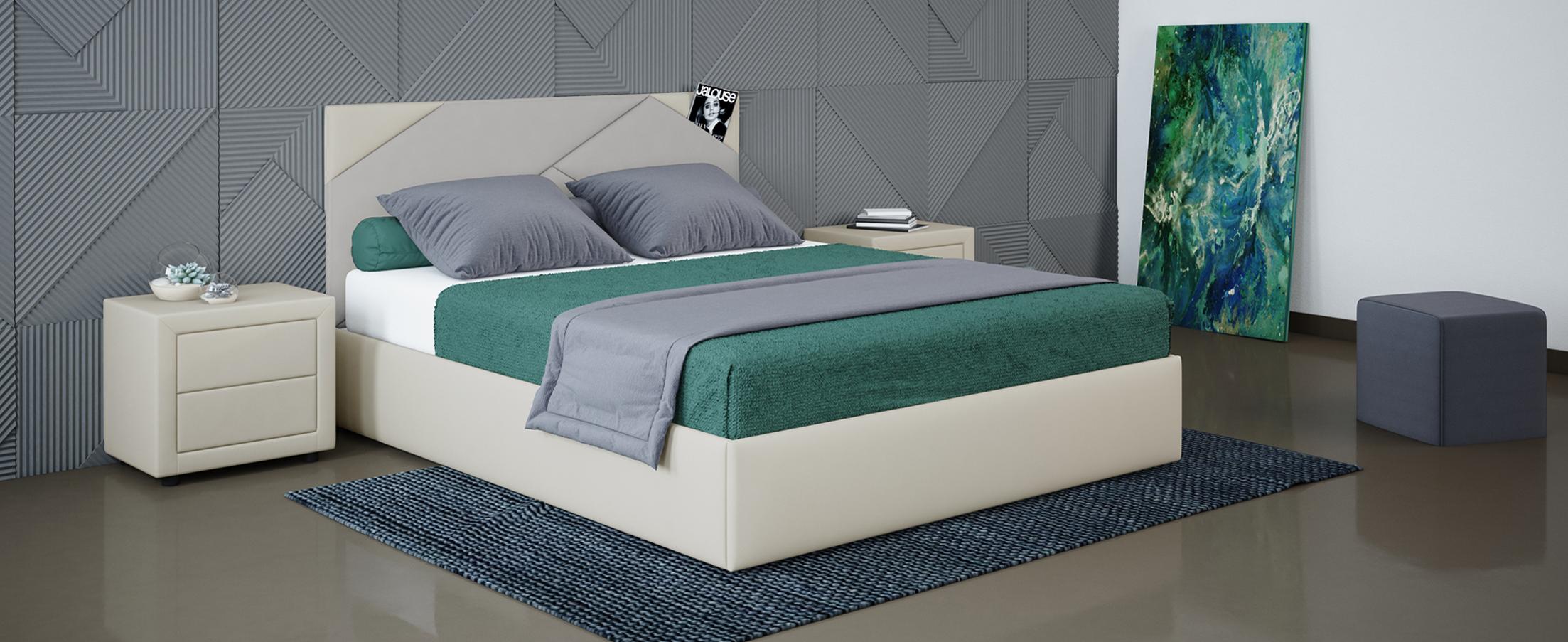 Кровать двуспальная Альба 140х200 Модель 1206Уникальность кровати Альба заключается в геометрических элементах мягкого изголовья, такой дизайнерский прием поможет задать ритм всему интерьеру.<br><br>Ширина спального места см: 140<br>Глубина спального места см: 200<br>Ширина см: 148<br>Глубина см: 210<br>Высота см: 105<br>Встроенное основание: Есть<br>Материал каркаса: ЛДСП<br>Материал обивки: Экокожа, Велюр<br>Подъемный механизм: Нет<br>Цвет: Серый, Белый<br>Код ткани: 74-5, 36-148