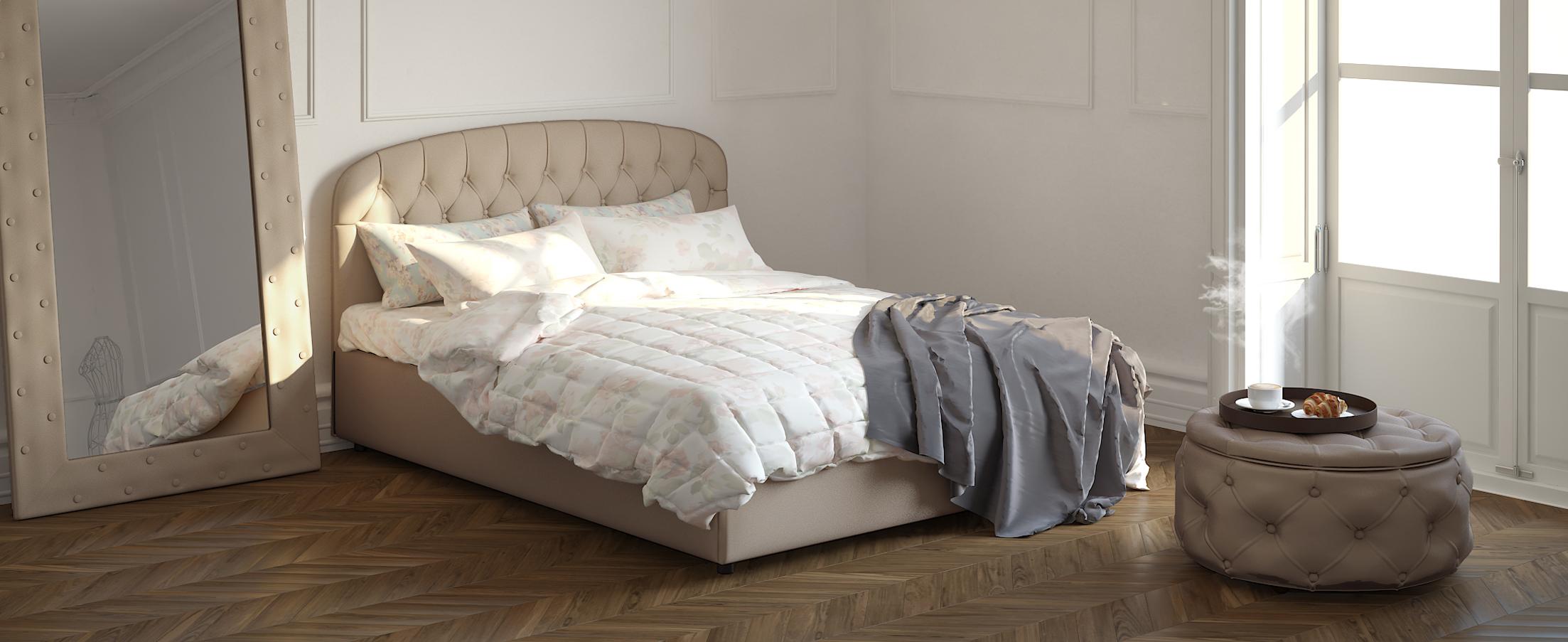 Кровать двуспальная Бьянка 140х200 Модель 1207Оригинальная форма изголовья кровати Бьянка придаст Вашей спальне индивидуальность, а стильные утяжки привнесут нотки благородности и шарма.<br>