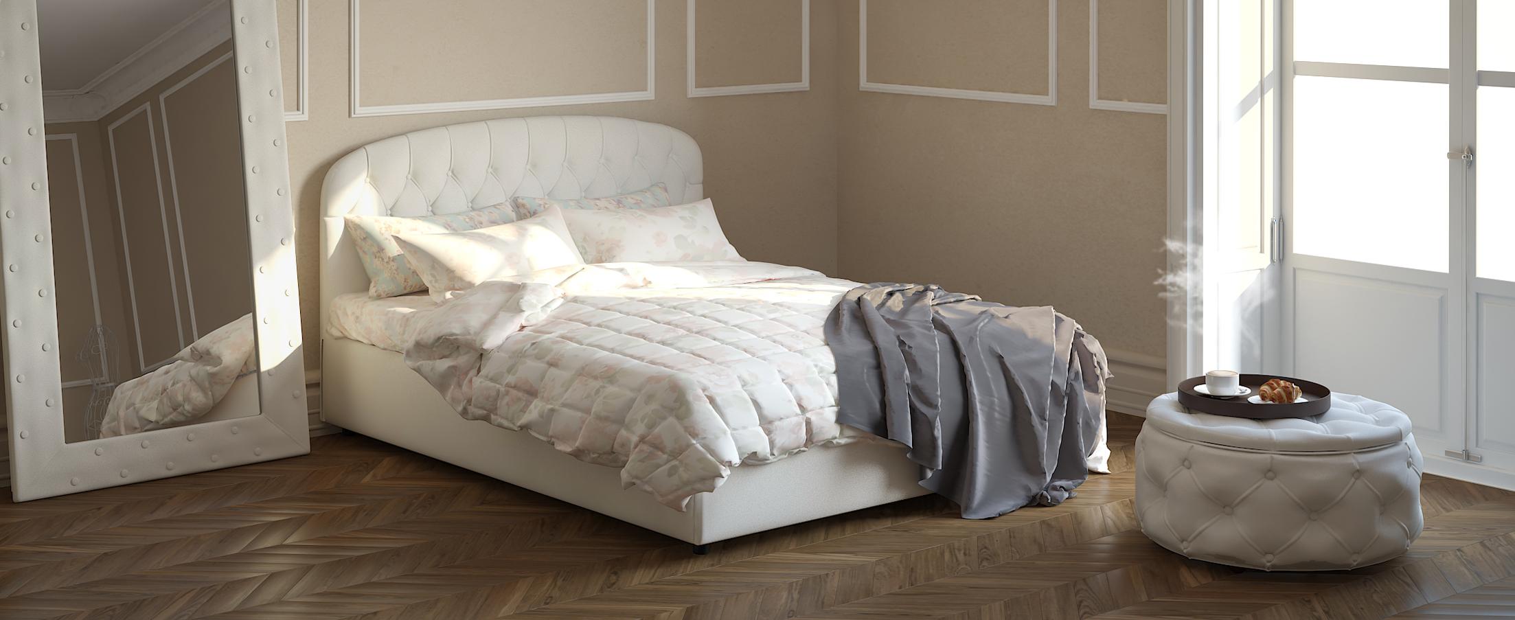 Кровать двуспальная Бьянка 160х200 Модель 1207Оригинальная форма изголовья кровати Бьянка придаст Вашей спальне индивидуальность, а стильные утяжки привнесут нотки благородности и шарма.<br>