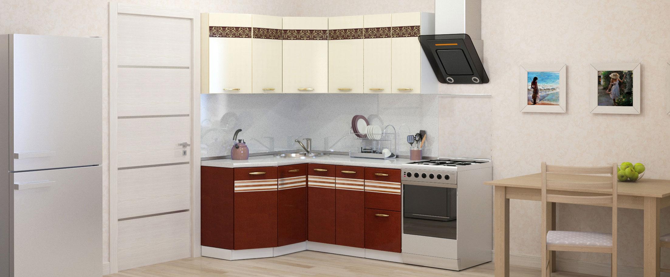 Кухня Корица угловая левая 1,35х1,6 мКупить удобный и практичный набор кухонного гарнитура в интернет магазине MOON-TRADE.RU. Быстрая доставка, вынос упаковки, гарантия! Выгодная покупка!<br>