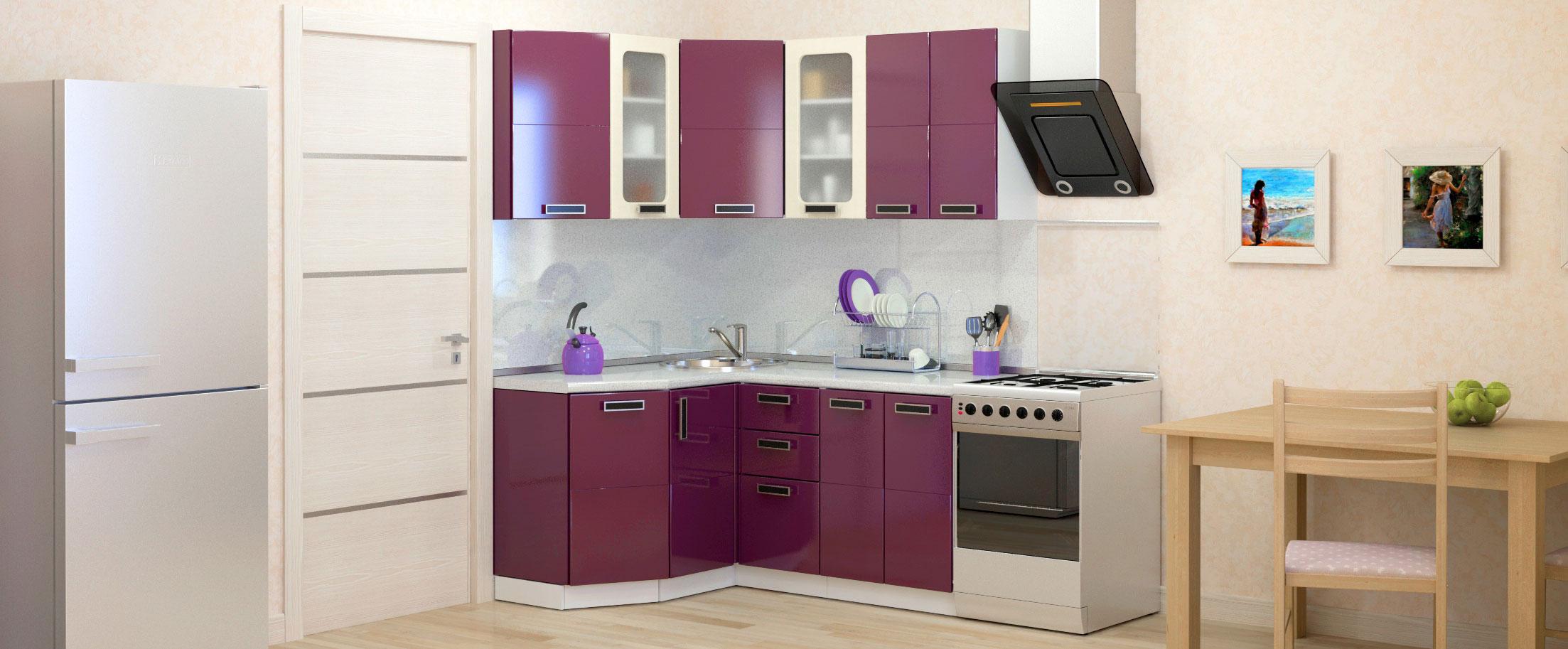Кухня Баклажан угловая левая 1,35х1,6 мКупить удобный и практичный набор кухонного гарнитура в интернет магазине MOON-TRADE.RU. Быстрая доставка, вынос упаковки, гарантия! Выгодная покупка!<br>