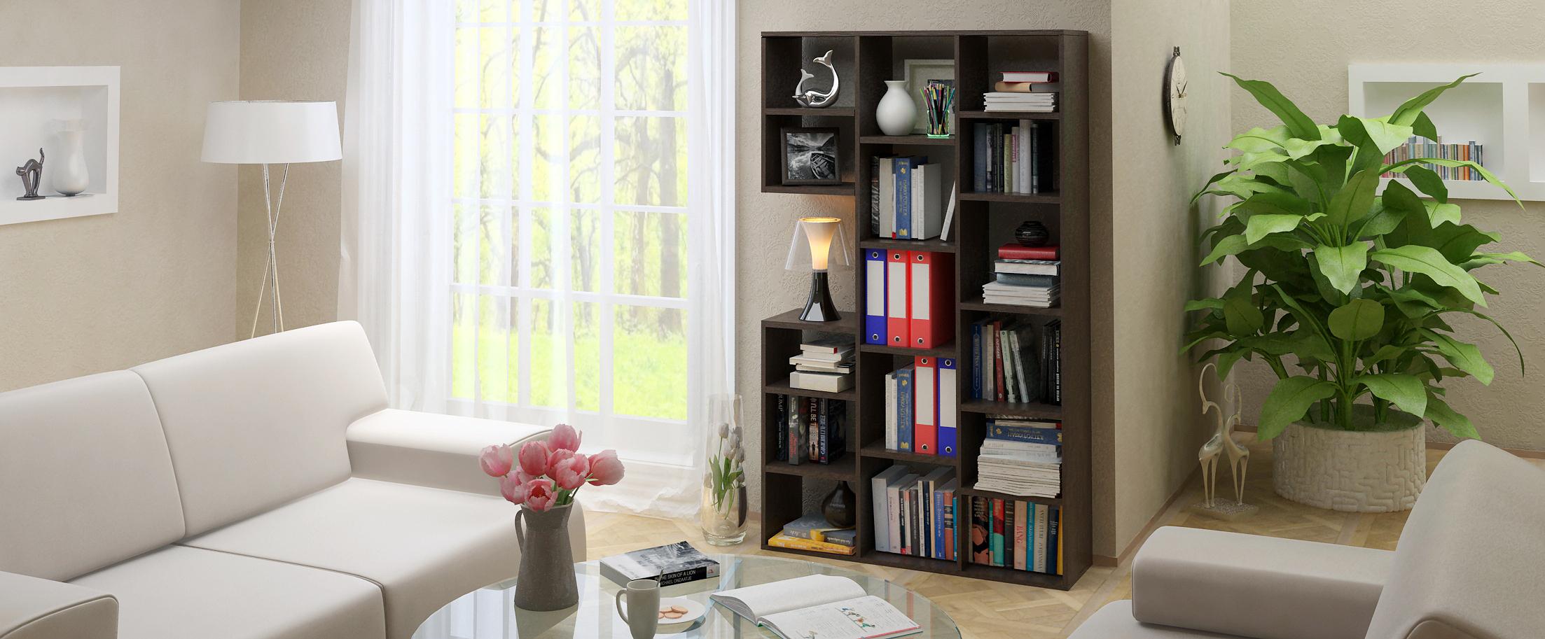 Стеллаж Рикс 1 Модель 828Разноуровневые полки позволят красиво и аккуратно хранить не только книги и принадлежности для офисного пользования<br>