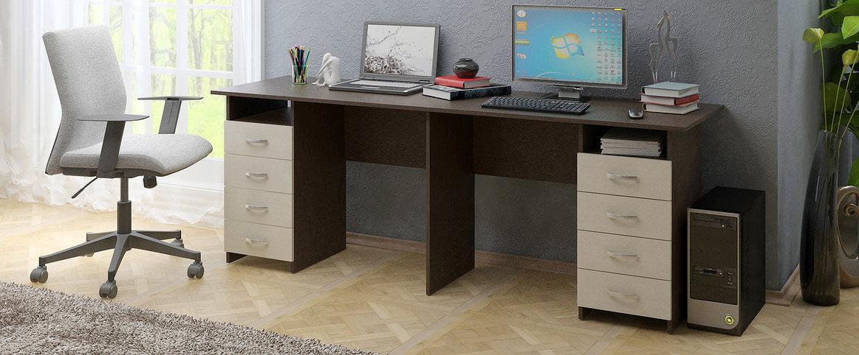 Стол Тандем-3 Модель 834Благодаря своему уникальному дизайну, они позволят создать полноценную рабочую зону, рассчитанную на двух человек, безупречно вписываясь в самые разнообразные решения Вашего помещения.<br>