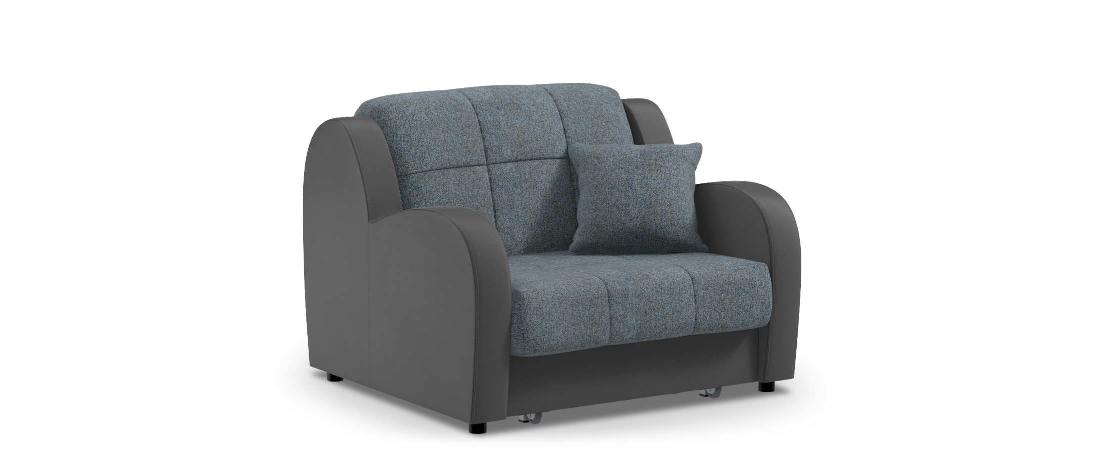 Кресло раскладное Барон 022Купить синее кресло-кровать Барон 022. Доставка от 1 дня. Подъём, сборка, вынос упаковки. Гарантия 18 месяцев. Интернет-магазин мебели MOON-TRADE.RU. Артикул: 001762.<br><br>Ширина спального места см: 88<br>Глубина спального места см: 204<br>Ширина см: 113<br>Глубина см: 104<br>Высота см: 88<br>Глубина посадочного места см: 60<br>Основание: Берёзовые латы<br>Механизм: Аккордеон<br>Жёсткость: Жёсткий<br>Бельевой короб: Нет<br>Чехол: Съёмный<br>Код ткани: 36-125, 68-36<br>Цвет: Серый, Синий<br>Материал: Рогожка, Экокожа<br>Мягкий настил: ППУ<br>Каркас: Металлокаркас
