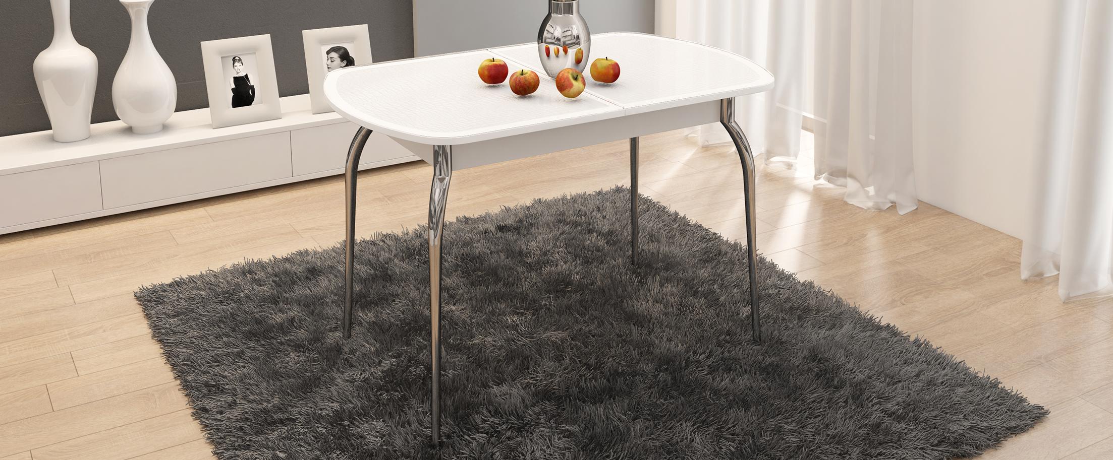 Стол обеденный Ницца Модель 3030Основание стола выполнено из стильного хромированного металла, придающего кухне современный и респектабельный вид<br><br>Ширина см: 142<br>Глубина см: 70<br>Высота см: 75<br>Цвет: Белый<br>Цвет столешницы: Белый<br>Материал столешницы: Стекло<br>Материал корпуса: Хромированный металл