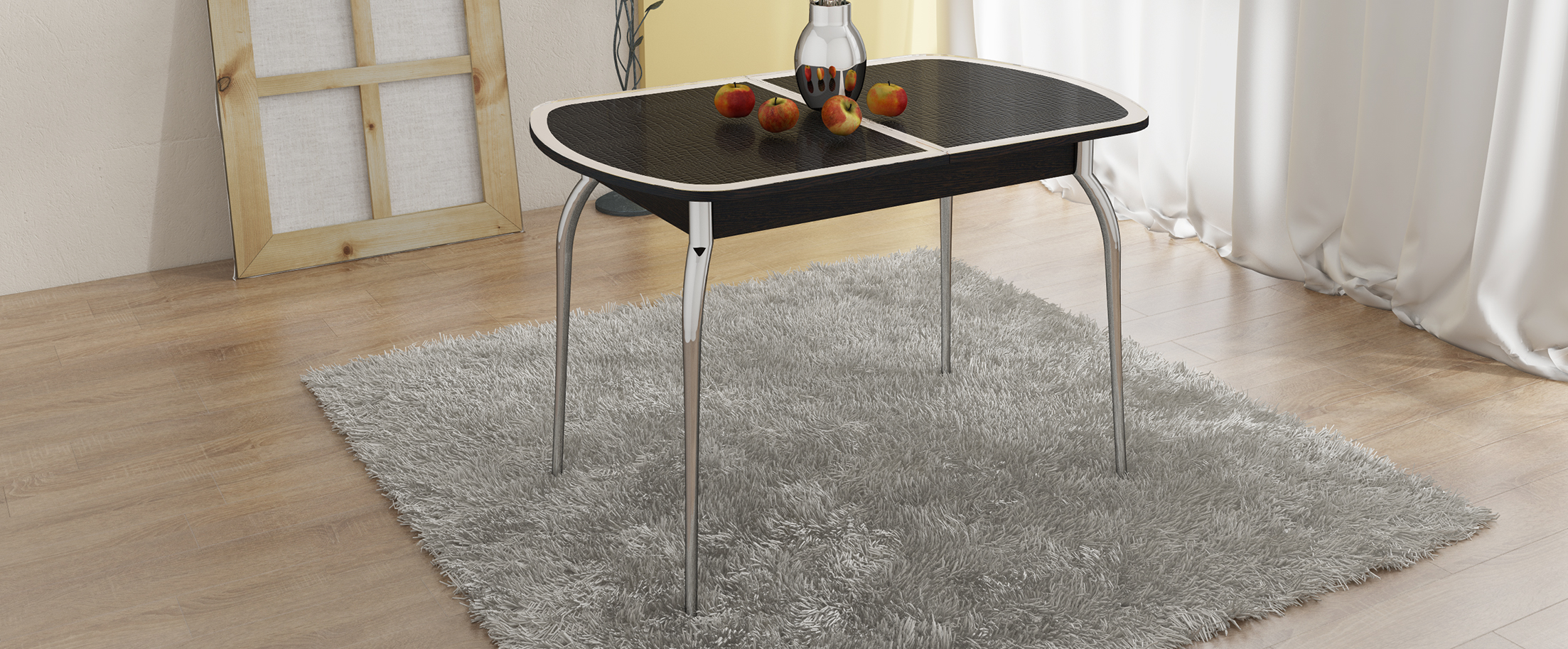 Стол обеденный Ницца Модель 3030Основание стола выполнено из стильного хромированного металла, придающего кухне современный и респектабельный вид<br><br>Ширина см: 142<br>Глубина см: 70<br>Высота см: 75<br>Цвет: Венге<br>Цвет столешницы: Венге<br>Материал столешницы: Стекло<br>Материал корпуса: Хромированный металл