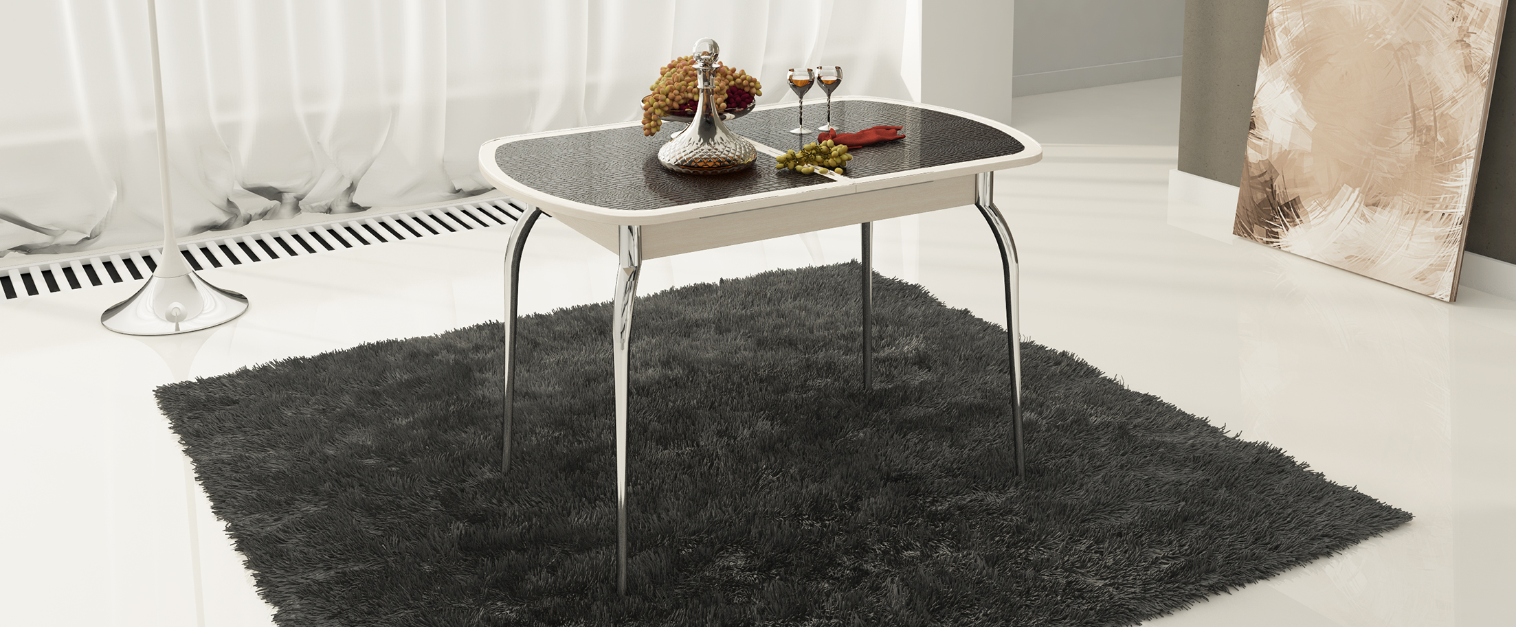 Стол обеденный Ницца Модель 3030Основание стола выполнено из стильного хромированного металла, придающего кухне современный и респектабельный вид<br>